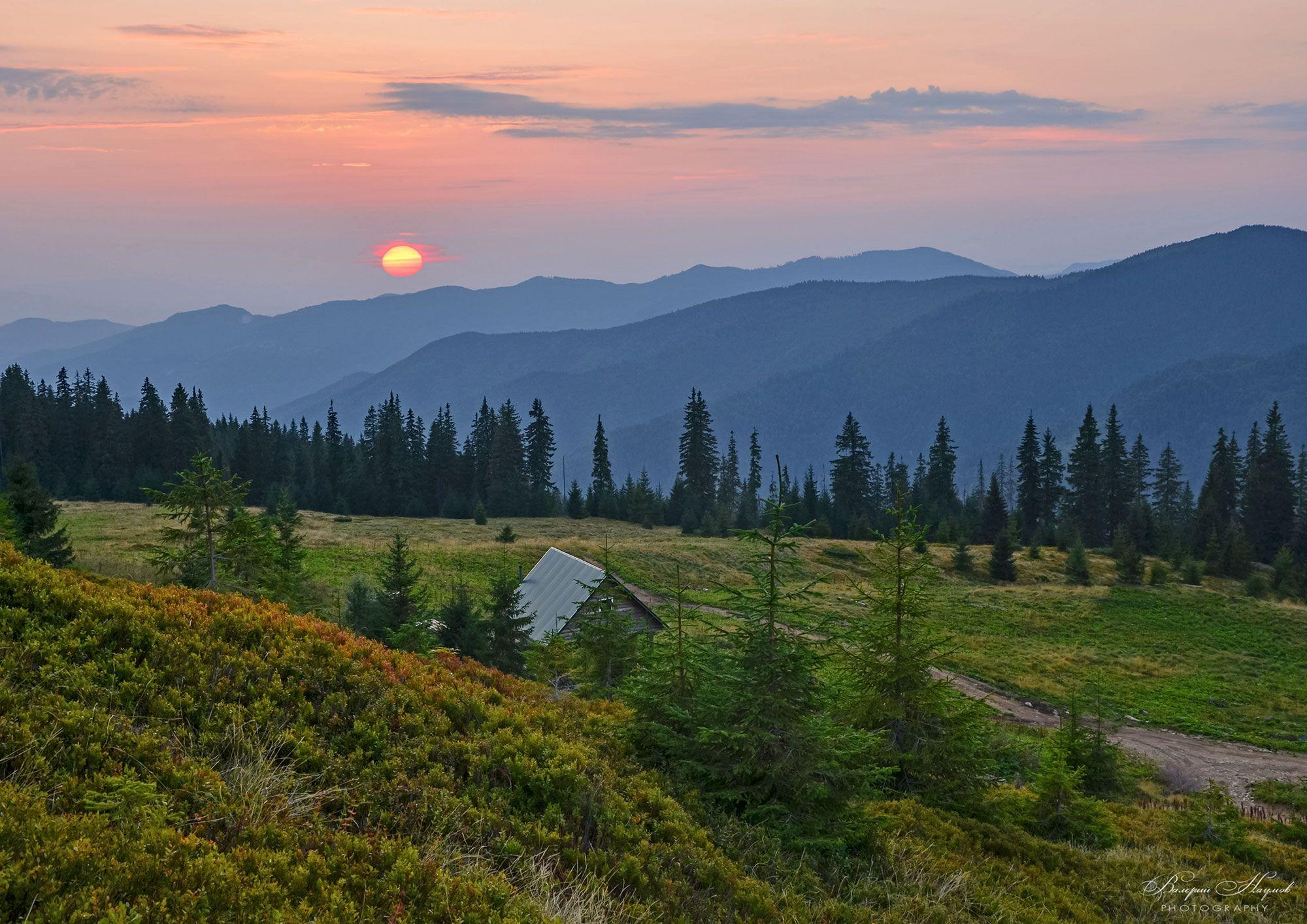 горы, мармаросы, карпаты, полонына струнге, закат, вечер, август, Валерий Наумов