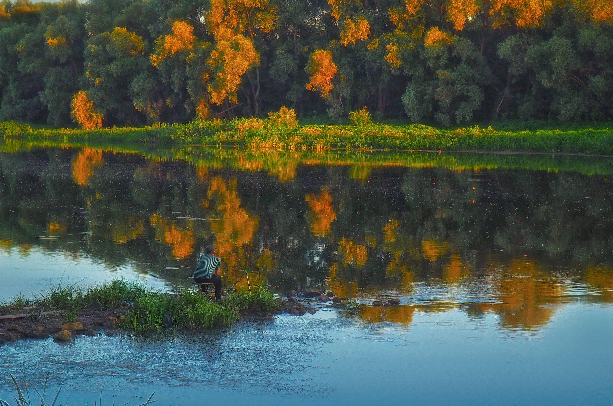 рыбак,закат,акварель,дон,вода,отражения,человек,пейзаж,река,вечер, Володин Владимир