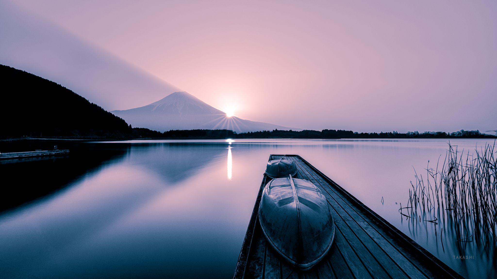 Fuji,Japan,mountain,lake,water,reflection,boat, Takashi