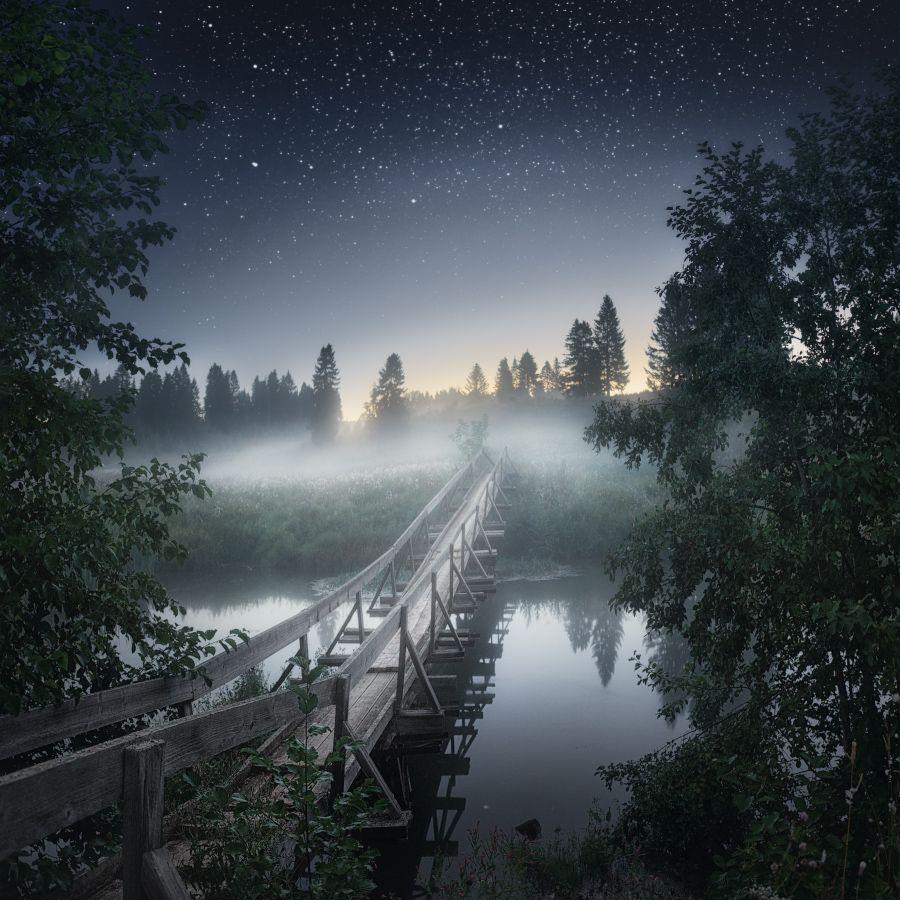 звезды, туман, мост, Медянцев Дмитрий