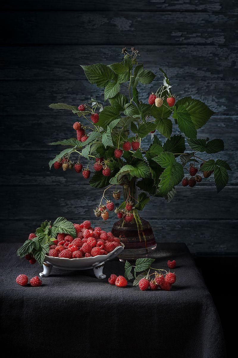 натюрморт, малина, букет, лето, рустик, ягоды, ваза, Ольга ЯR