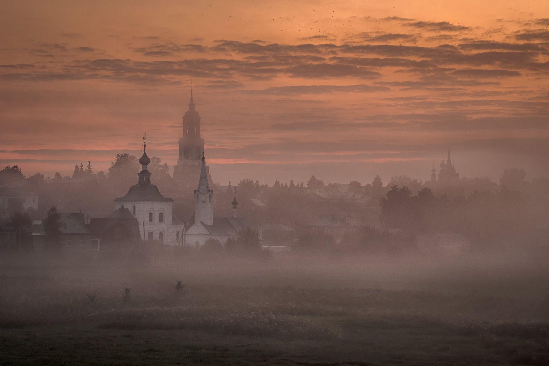 рассвет, полумрак, туман, утро, суздаль, город, церковь, монастырь, небо, пейзаж, Чиж Андрей
