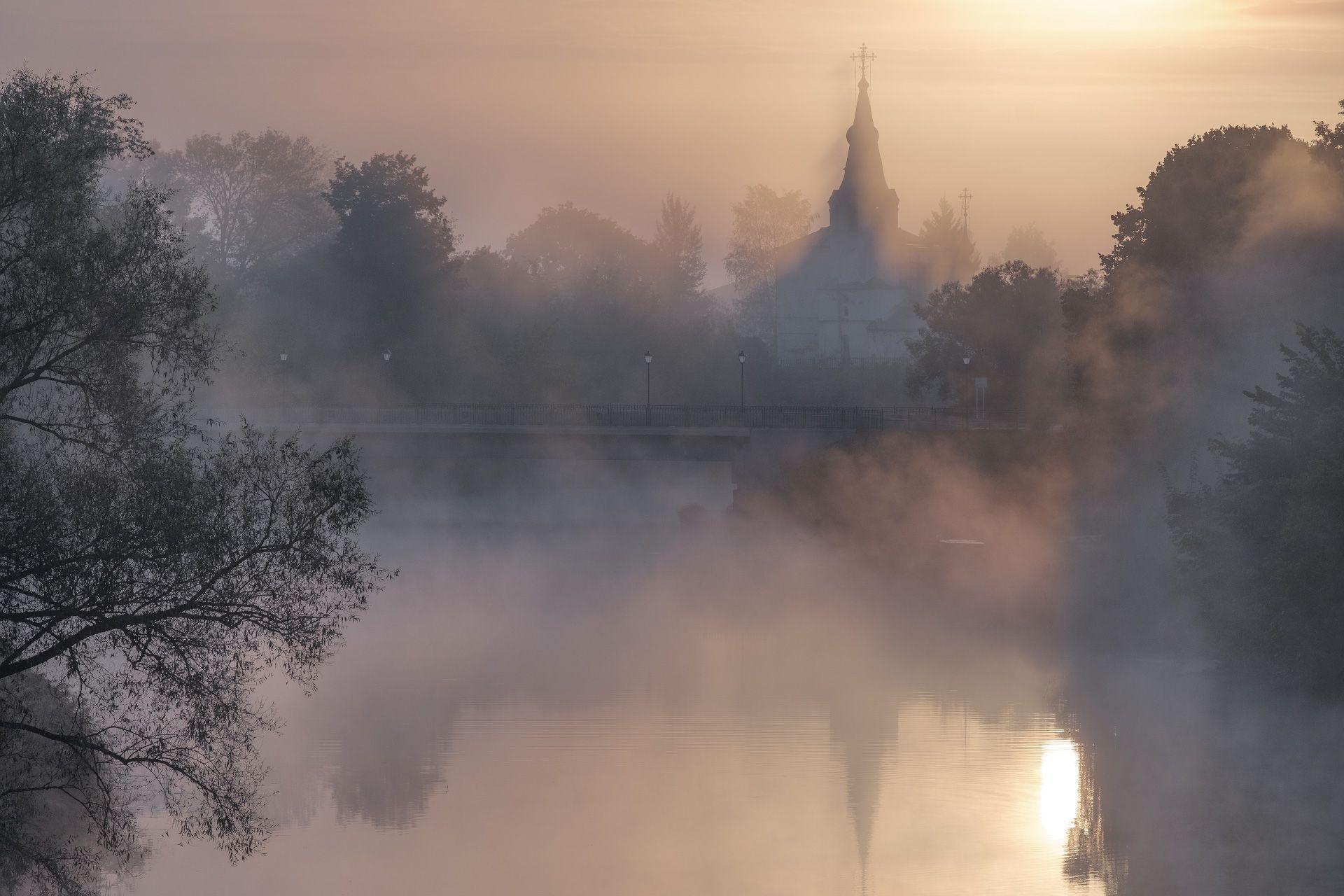 рассвет, река, каменка, мост, туман, утро, суздаль, город, церковь, монастырь, пейзаж, Чиж Андрей