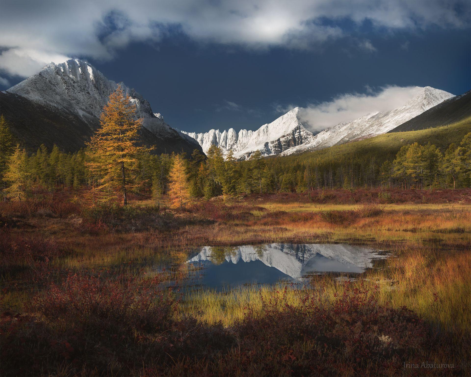 Колыма, Магадан, озеро Джека Лондона, осень, горы, отражение, Абатурова Ирина