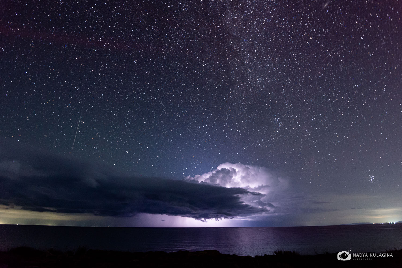 lightning, storm, star, starry night, night sky, starry sky, sky, lake, water, reflection, galaxy, Milky Way, night photography, Kulagina Nadya