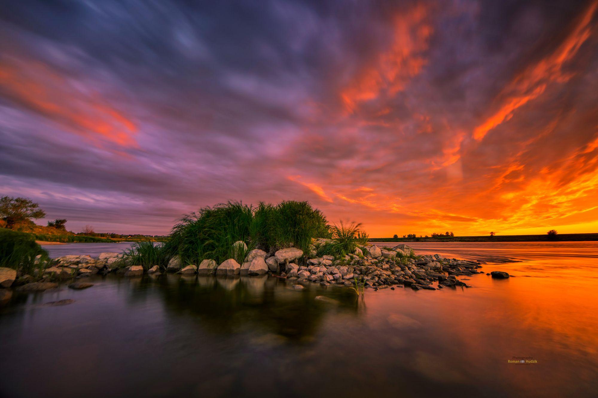 river, landscape, clouds, sunrise, water, sunrise colors, island, stones., Hudzik Roman