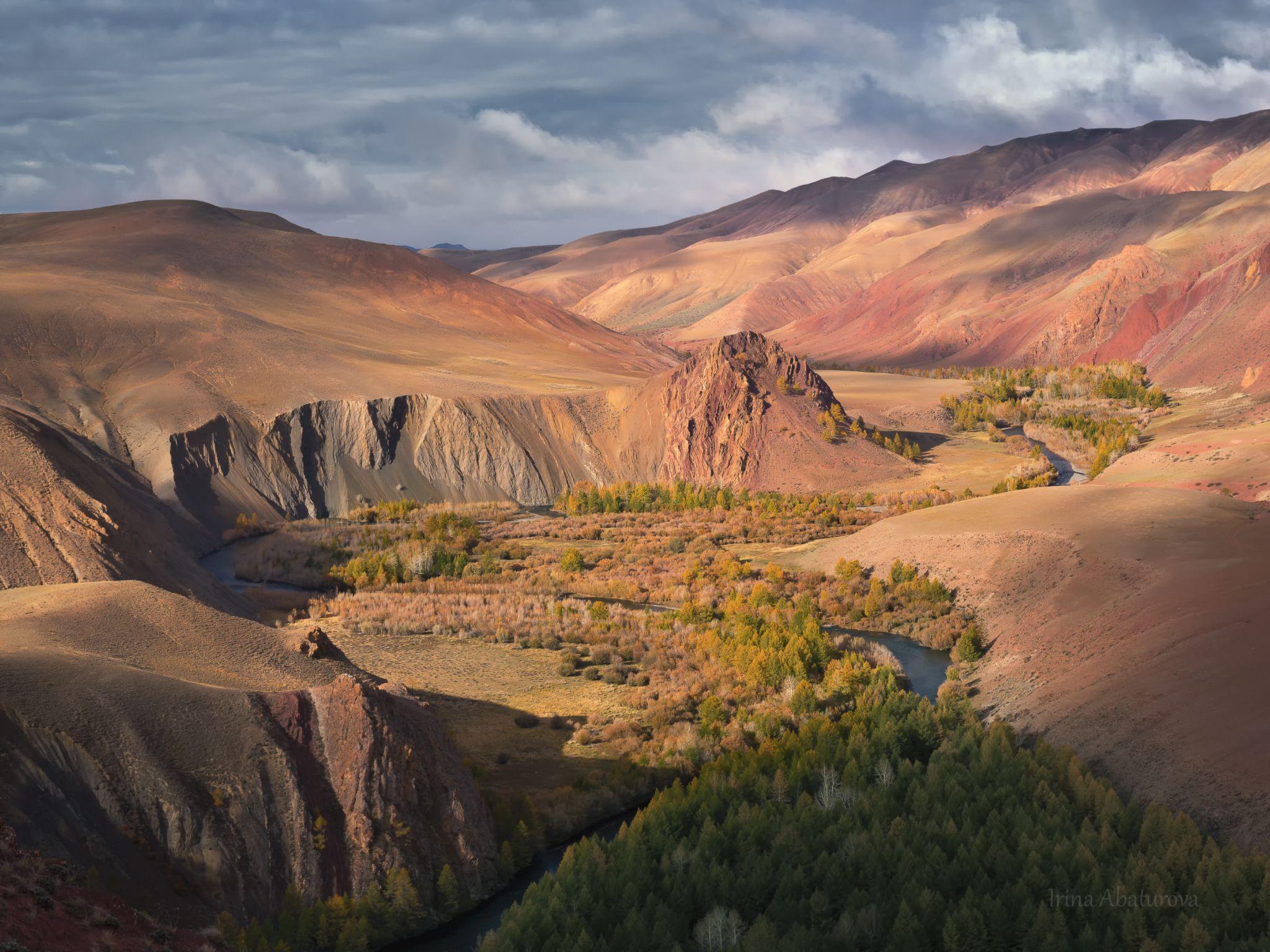 Алтай, золотая осень, река, горы, цветной каньон, Абатурова Ирина