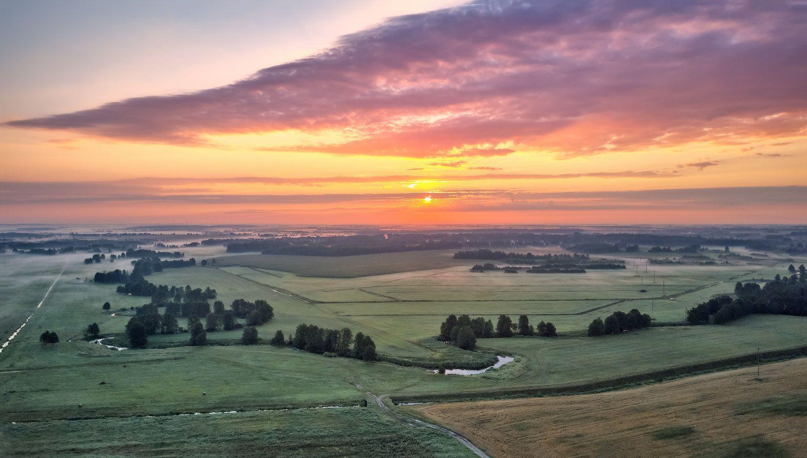 беларусь, июль, лето, поля, рассвет, река, туман, уса, утро, Вейзе Максим