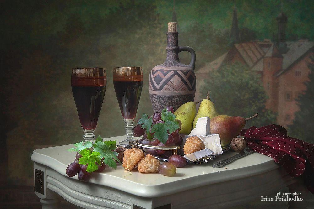 натюрморт, еда, вино, фрукты, винтажный, сыр бри, Приходько Ирина