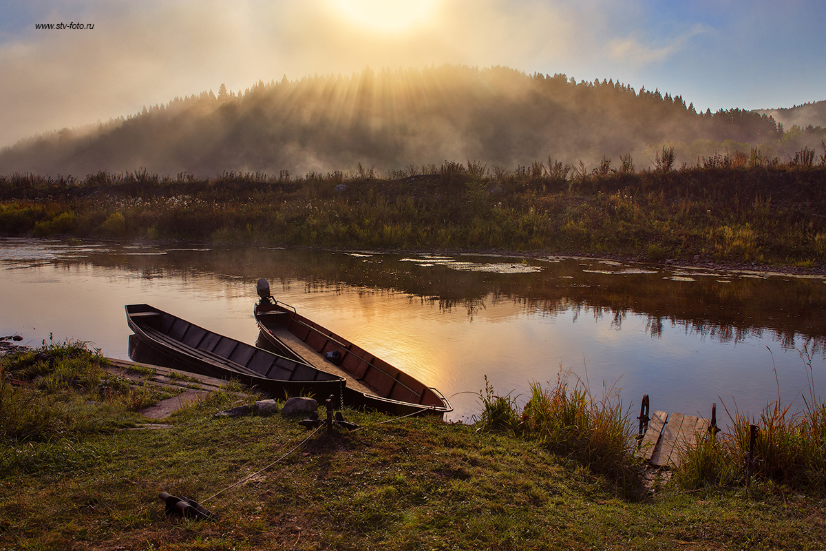 пейзаж, природа, утро, туман, рассвет, река, лодка, Sokolova Tatiana