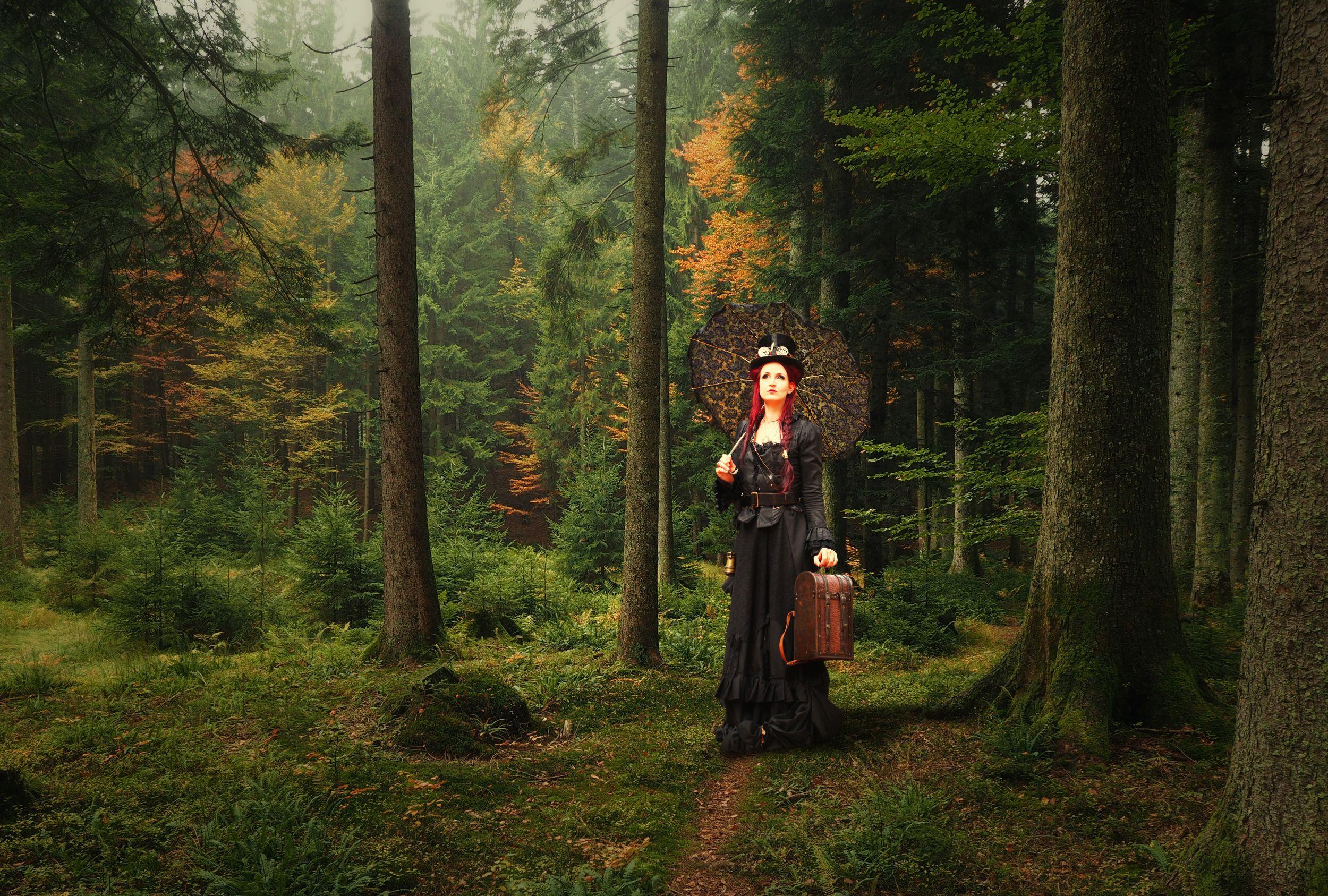 дама, лес, зонт, Sergii Vidov
