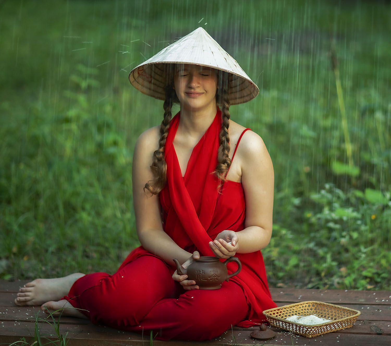 девушка,рис, дождь,шляпа, сюжет,постановка, girl,rice,rain, staged, emotional, Стукалова Юлия