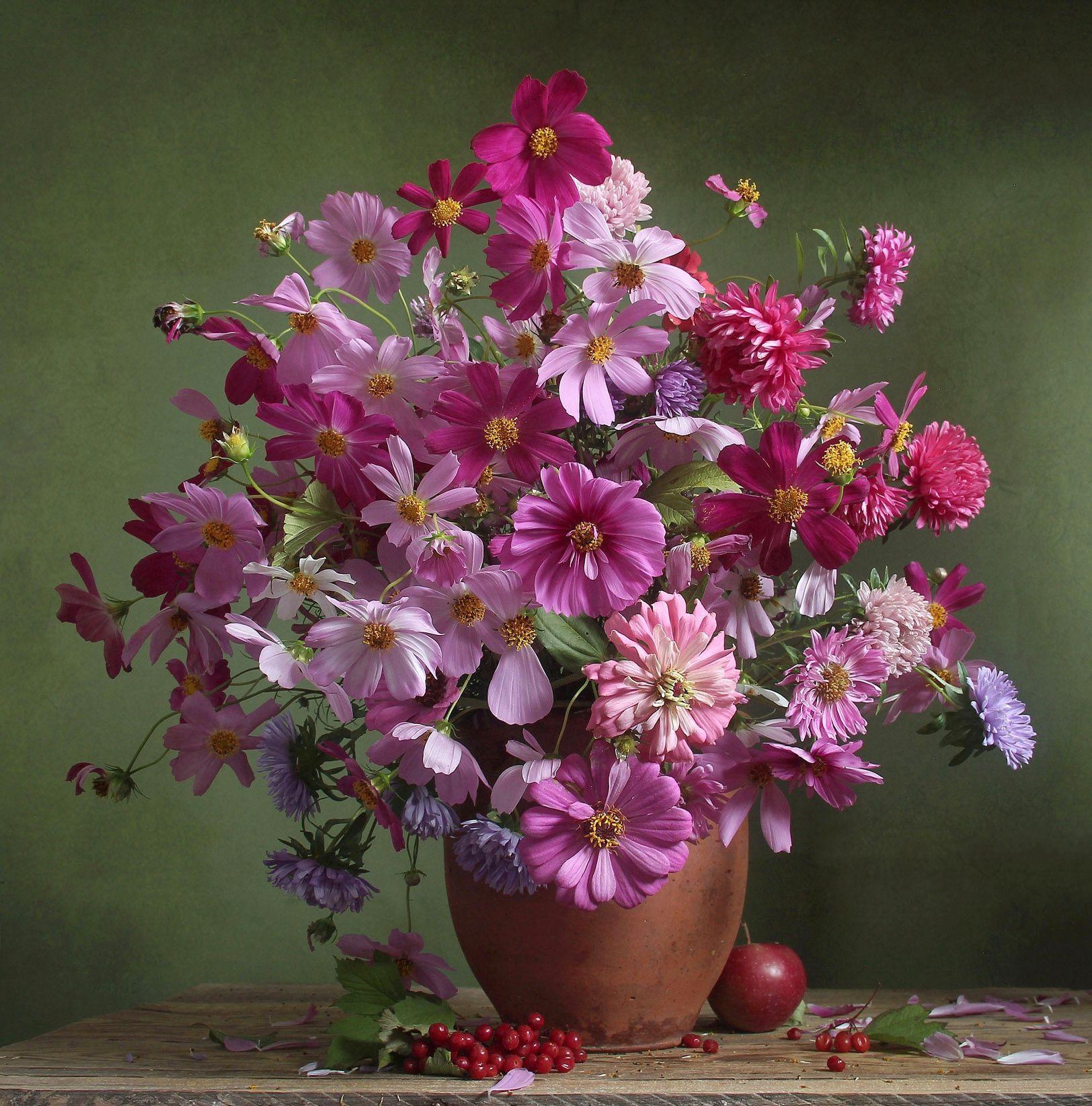 лето,  цветы, натюрморт, марина филатова, космея, Филатова Марина
