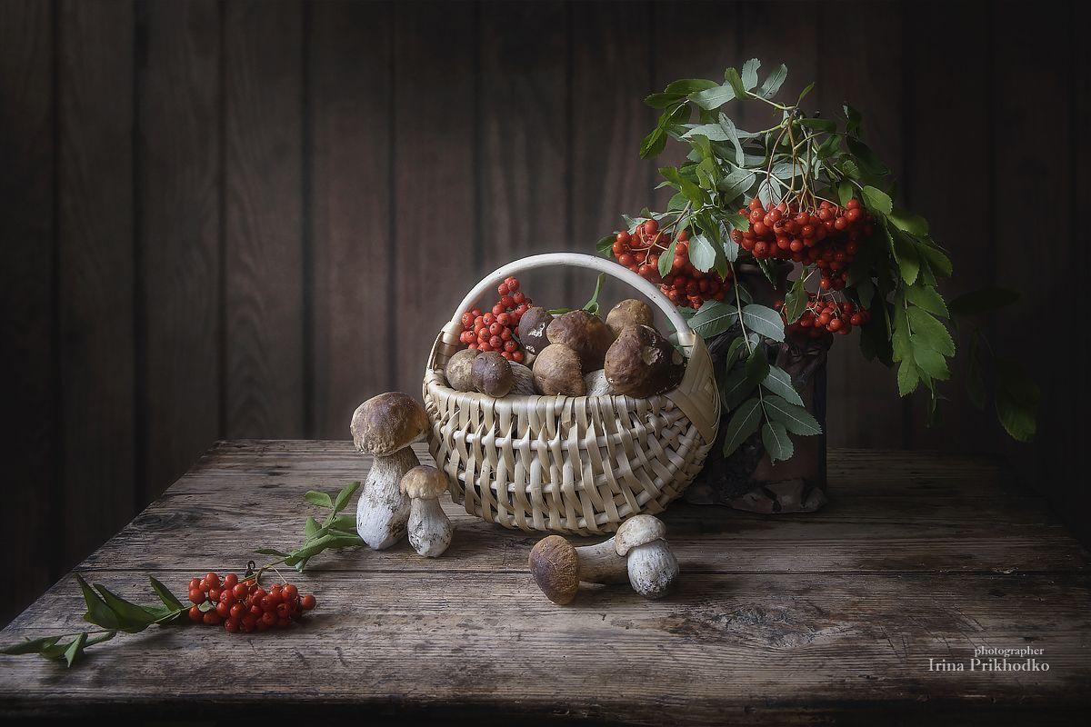 натюрморт, осень, грибы, рябина, деревенский, винтажный, Приходько Ирина