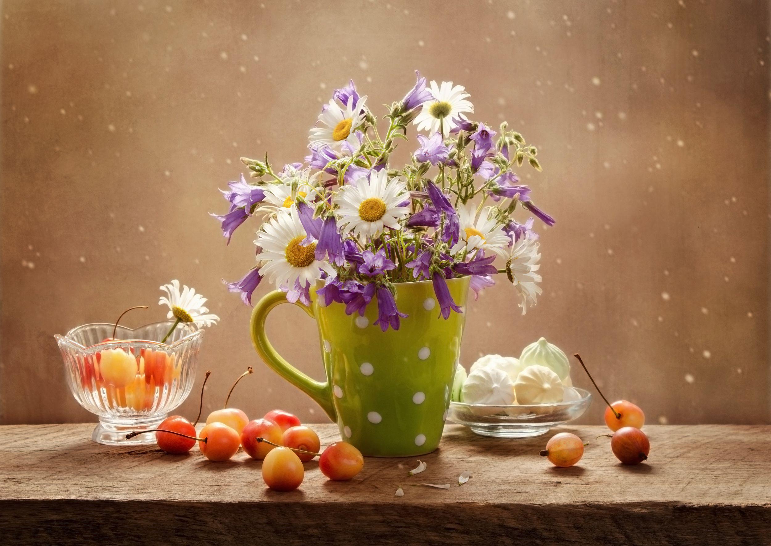 натюрморт, цветы, фрукты, Коцарева Ольга