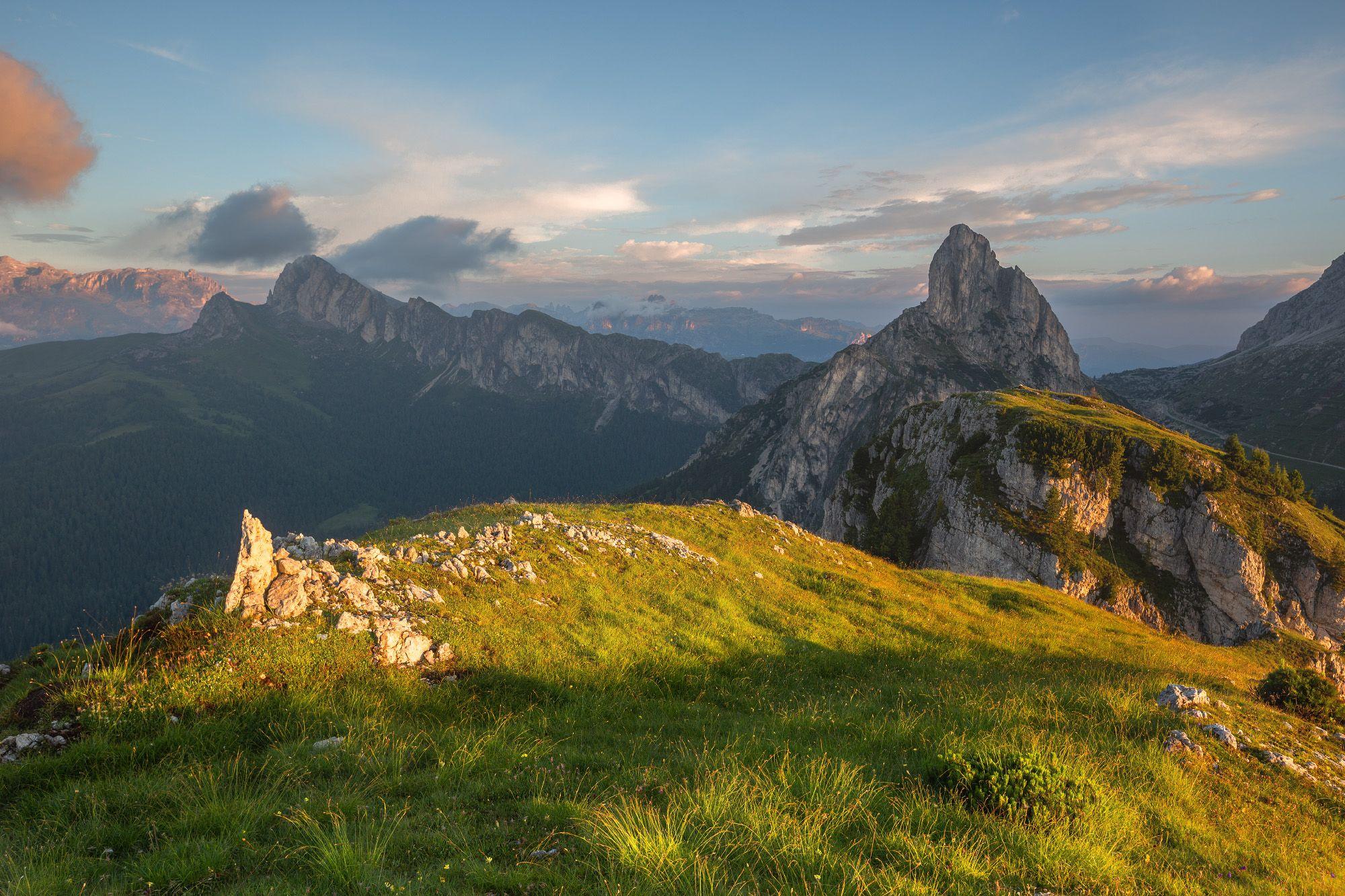 италия, доломиты, горы, облака, восход, природа, landscape, italy, dolomites, golden hour, golden light, sunrise, Финенко Геннадий