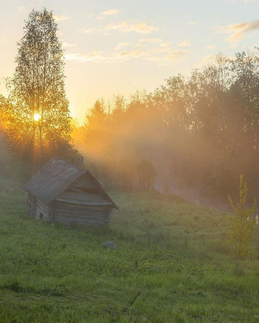 Деревня, рассвет, лето, река, баня, Петр Косых