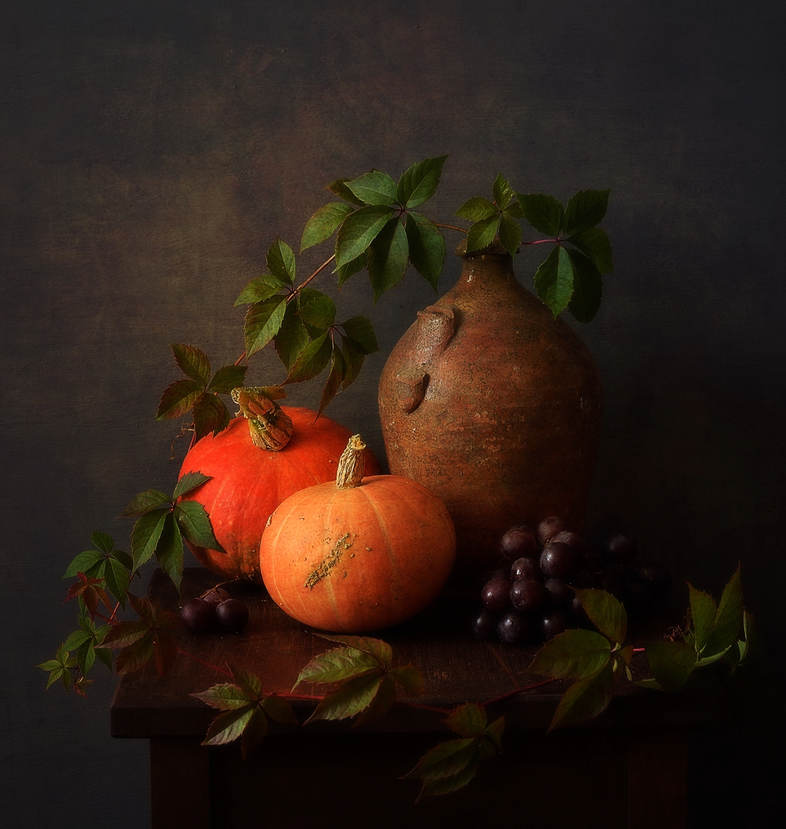 натюрморт,композиция,тыквы,виноград,осень, Наталия К