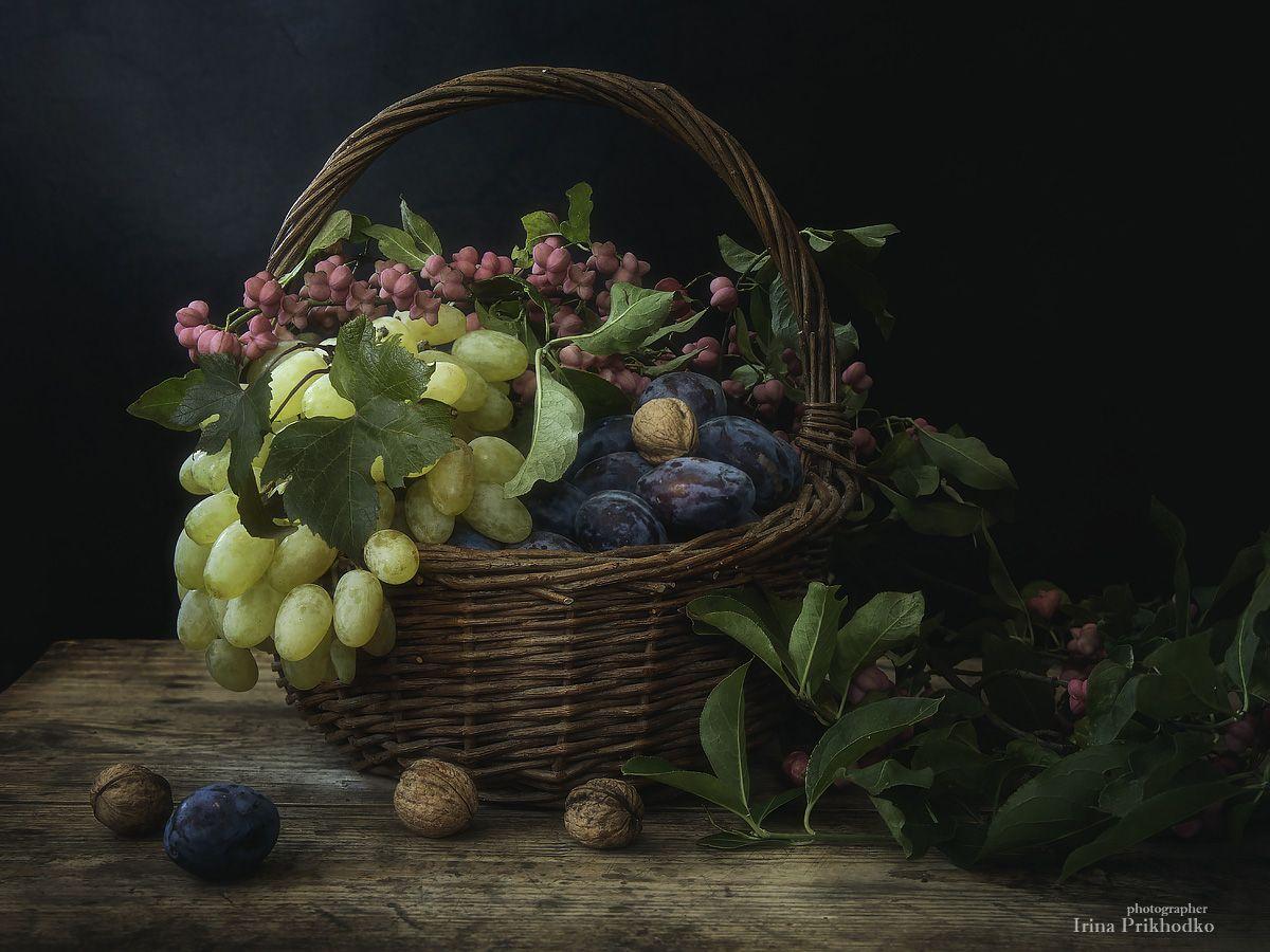 натюрморт, фрукты, осень,  бересклет, винтажный, Приходько Ирина
