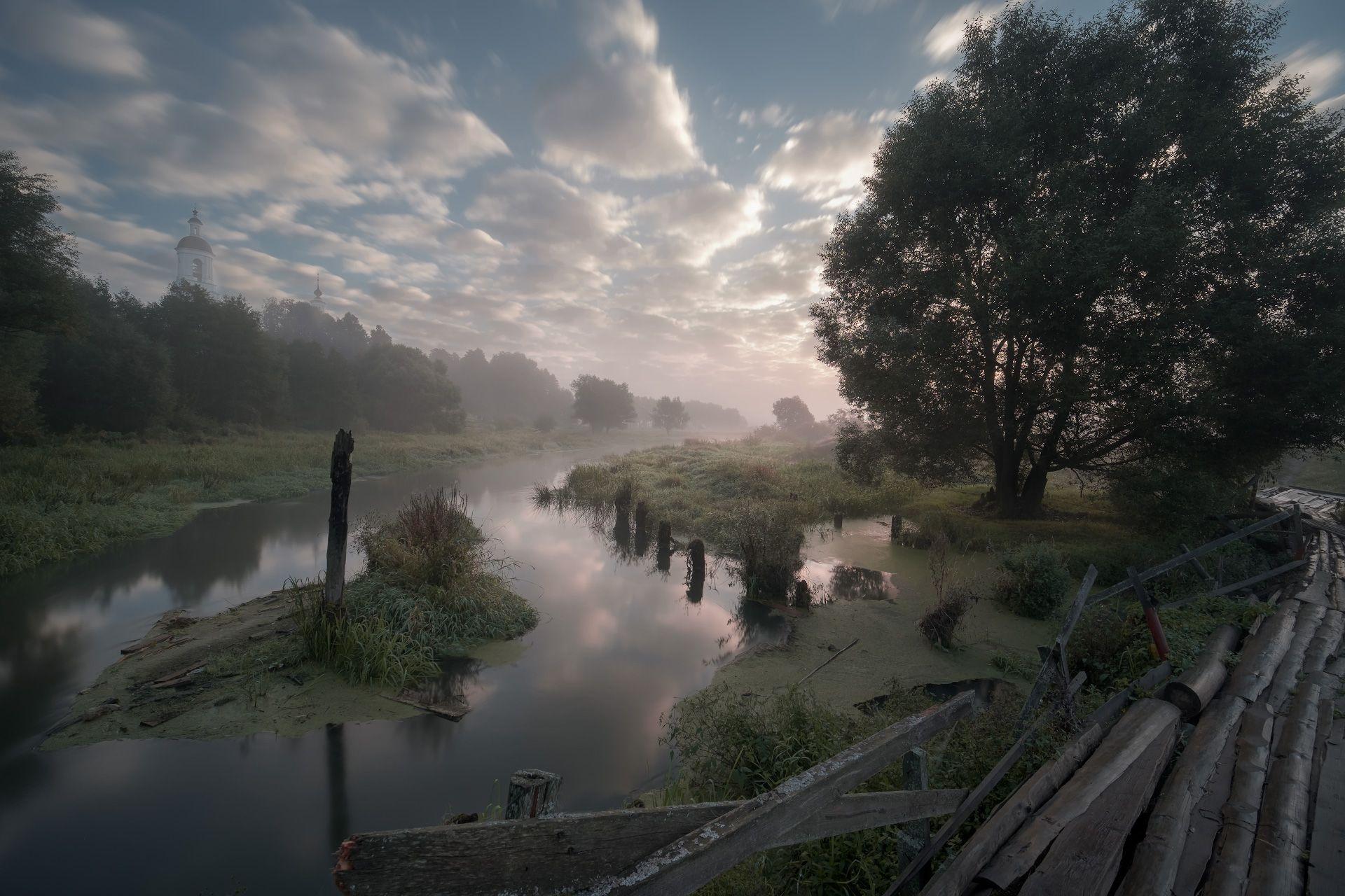 утро, рассвет, река, шерна, филипповское, село, туман, природа, пейзаж, Чиж Андрей