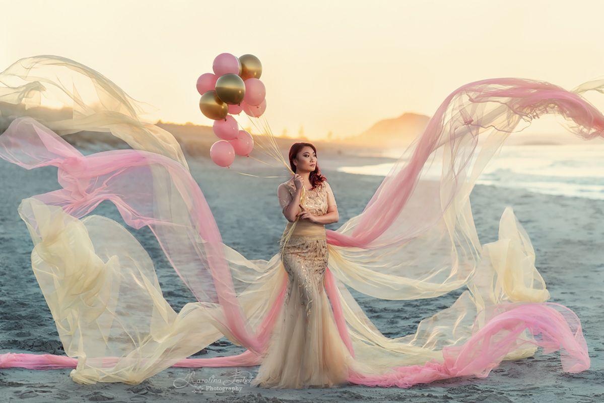 balloons, шарики, пляж, девушка, розовый, желтый, закат, богиня, goddess, sunset, pink, yellow, Ferbei Karolina