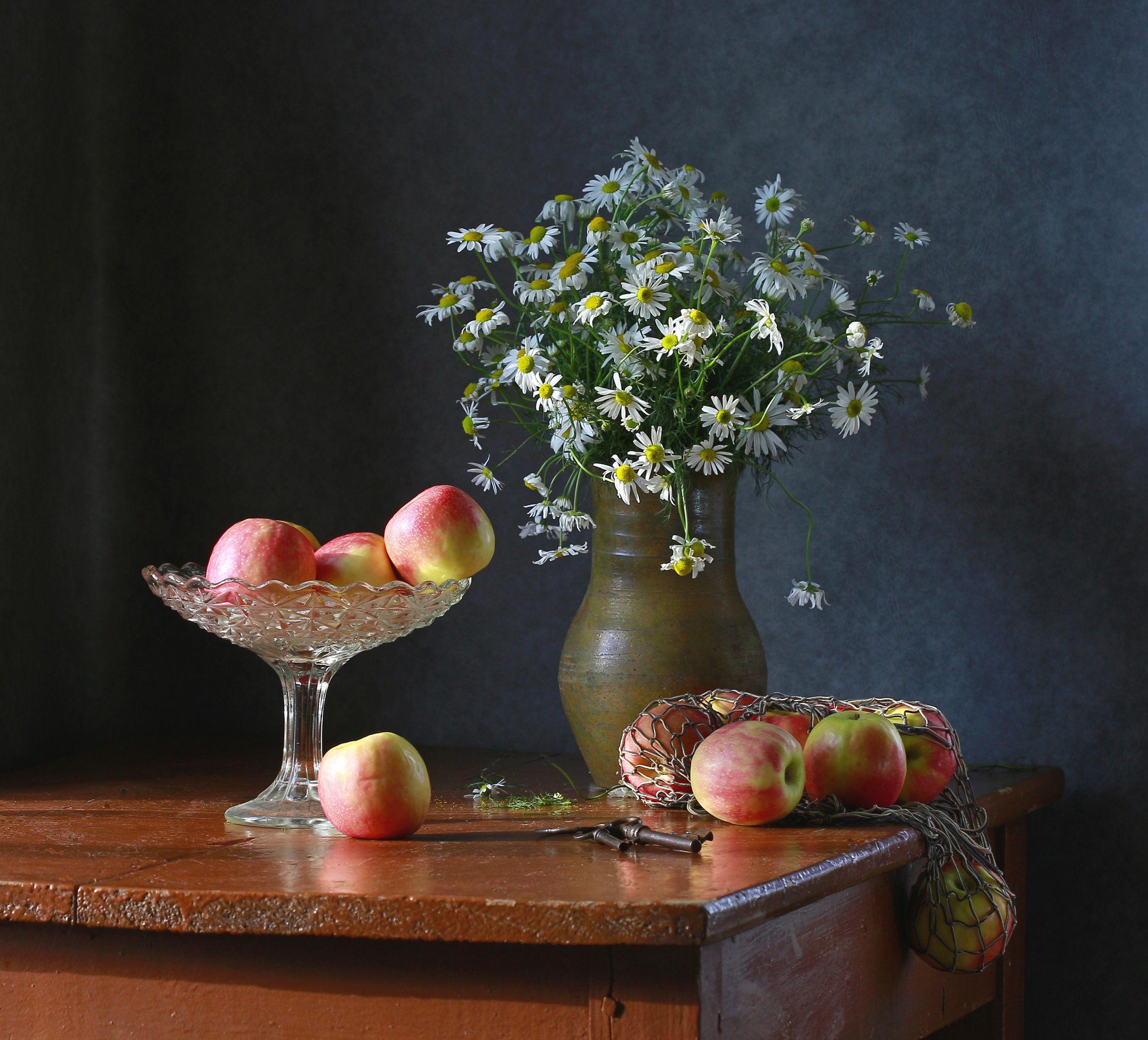 натюрморт, фотонатюрморт, лето, осень, яблоки, ромашки, наталья казанцева, Казанцева Наталья