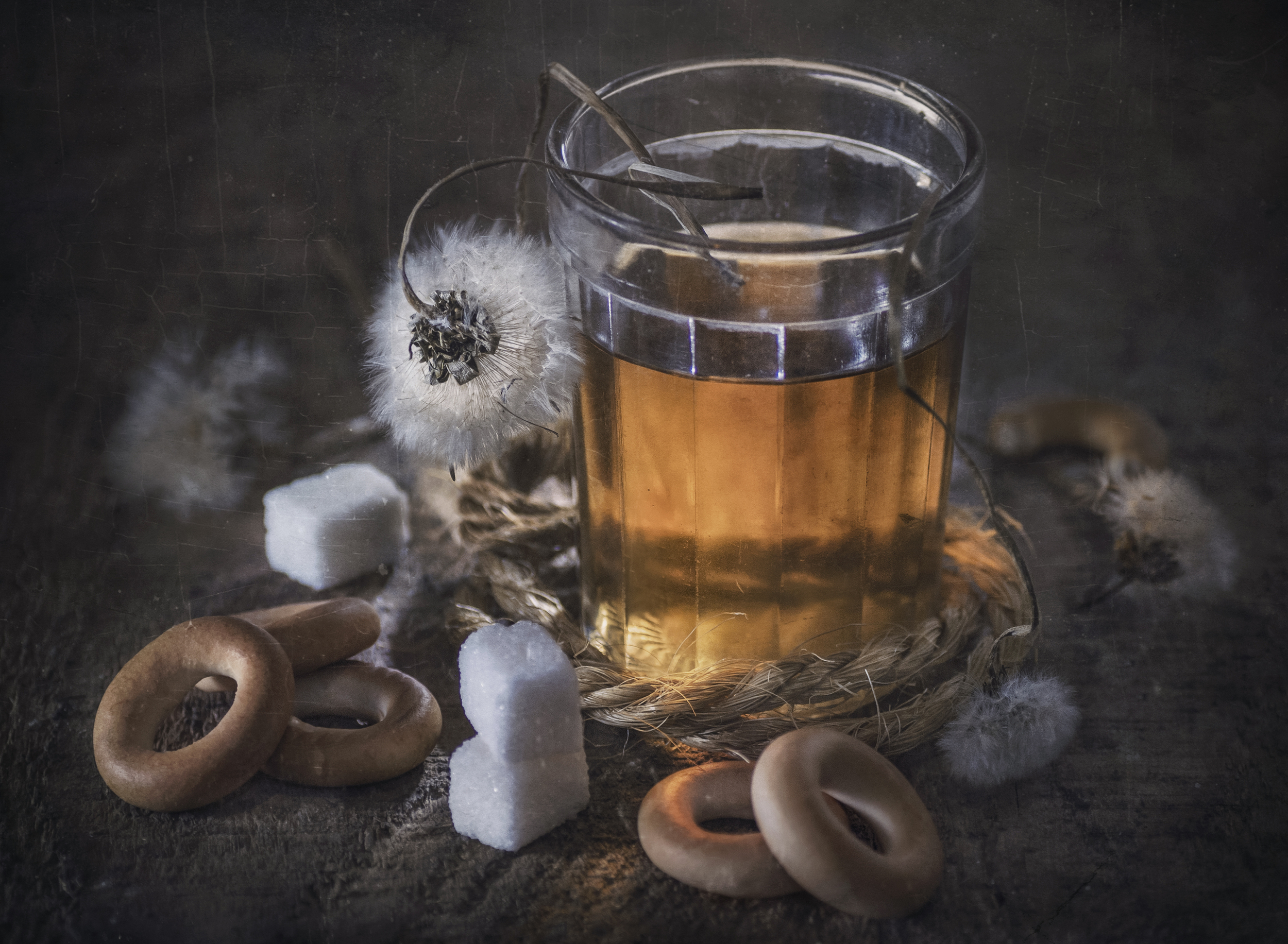чай,сушки,старый,стакан,тепло,сахар,одуванчики, Володин Владимир
