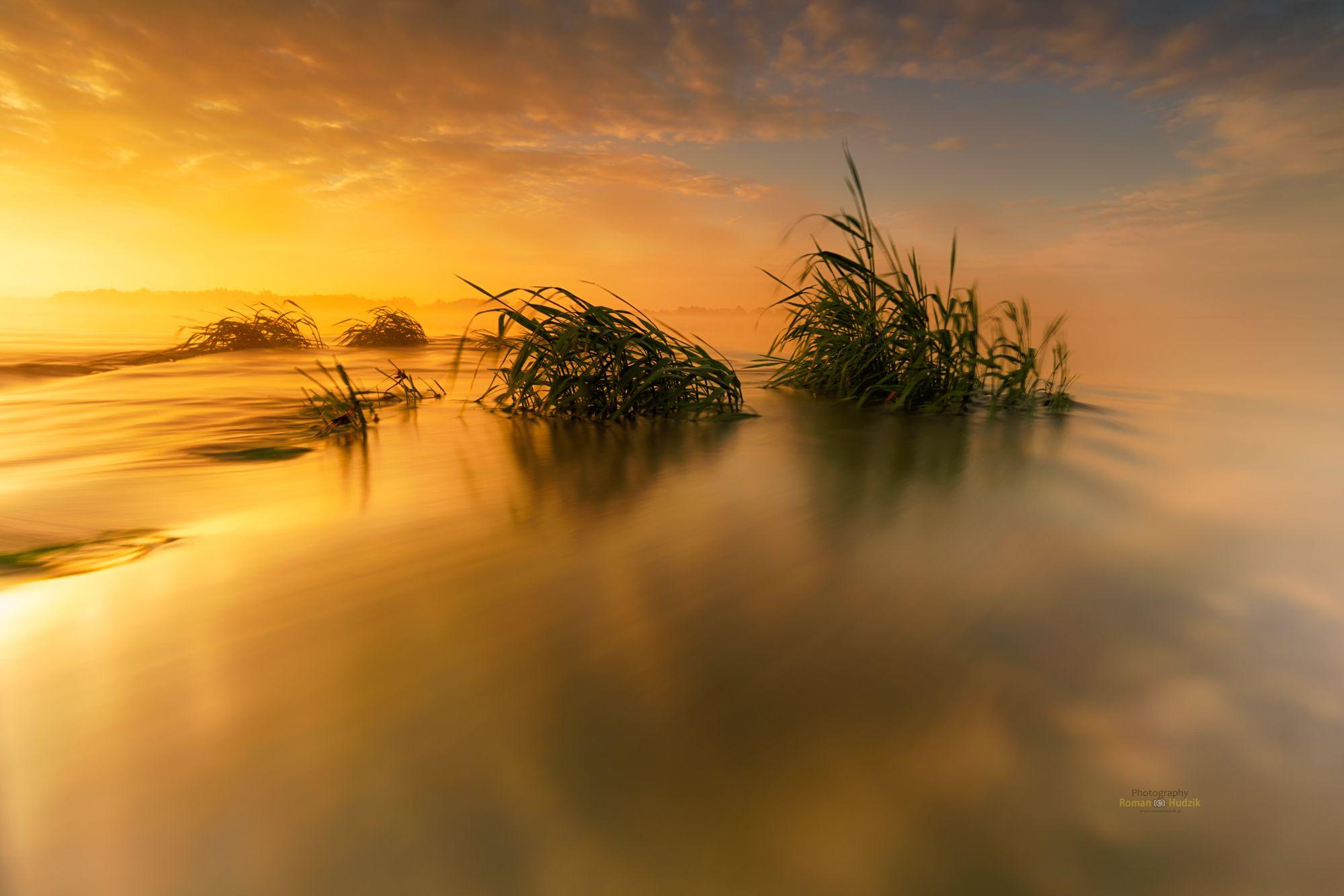 water, river, landscape, sunrise, fog, clouds,, Hudzik Roman