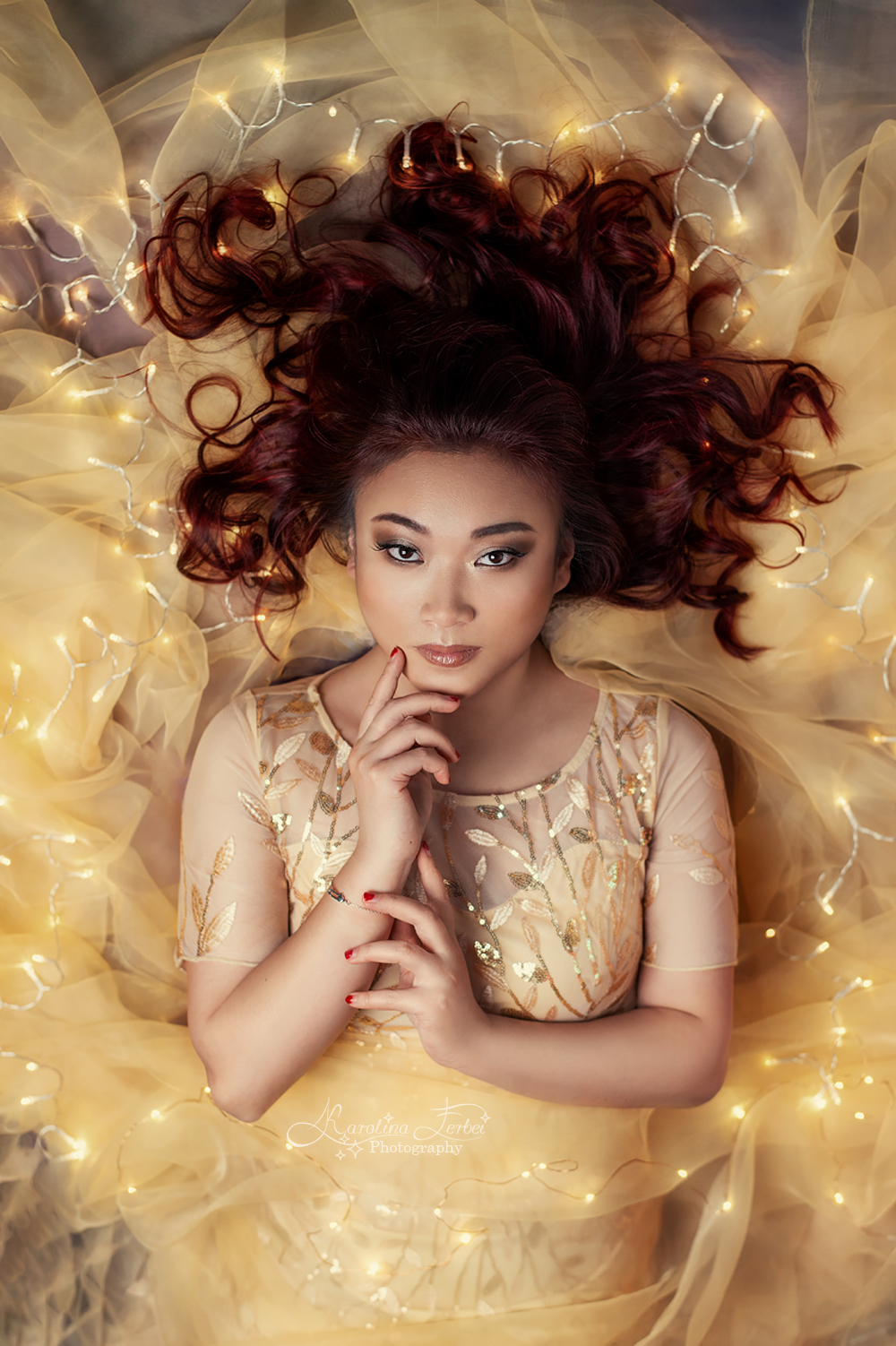 lights, yellow, fairy, goddess, богиня, желтый, гирлянда, ткань, Ferbei Karolina