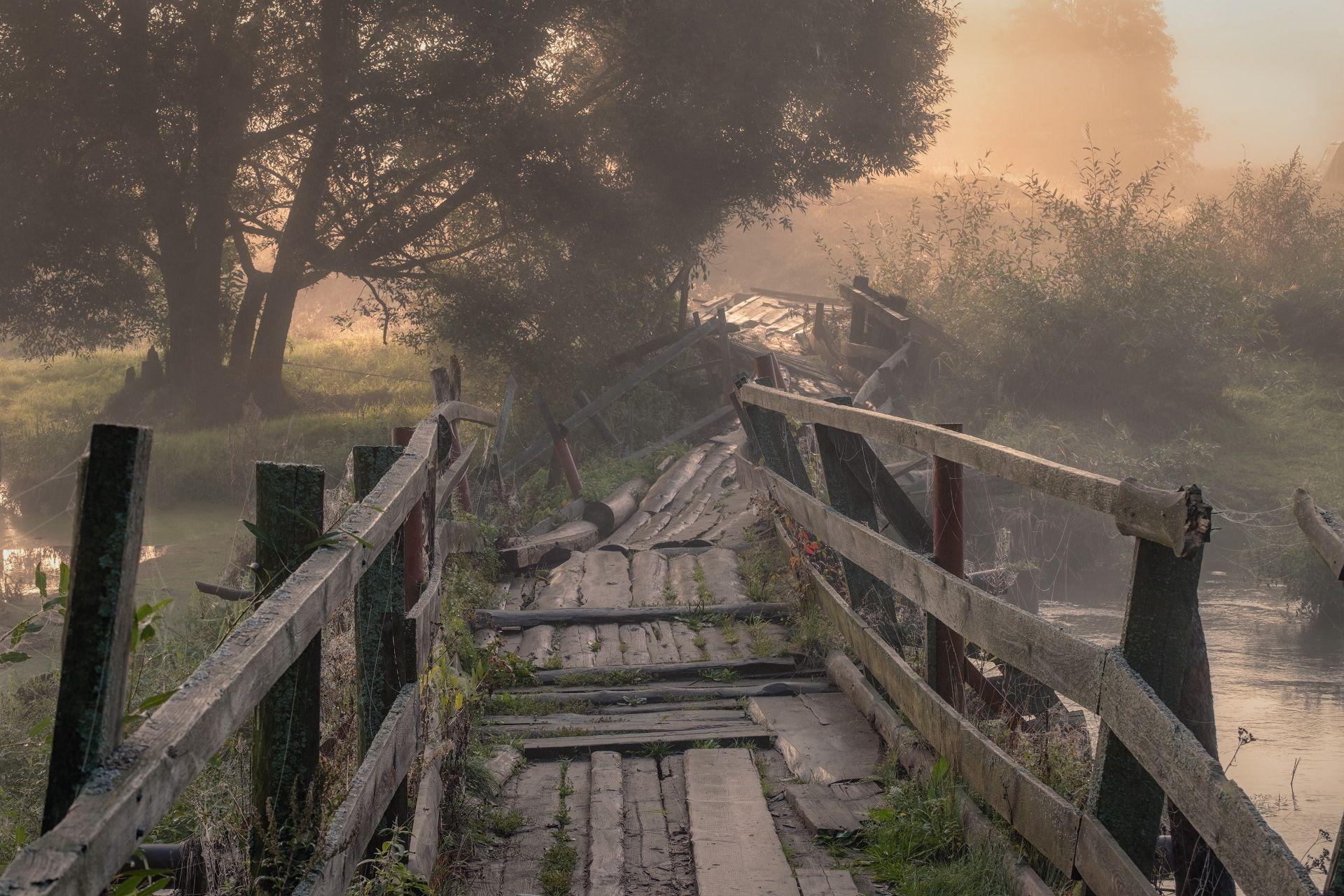 мост, разруха, утро, рассвет, река, шерна, туман, природа, пейзаж, филипповское, Чиж Андрей