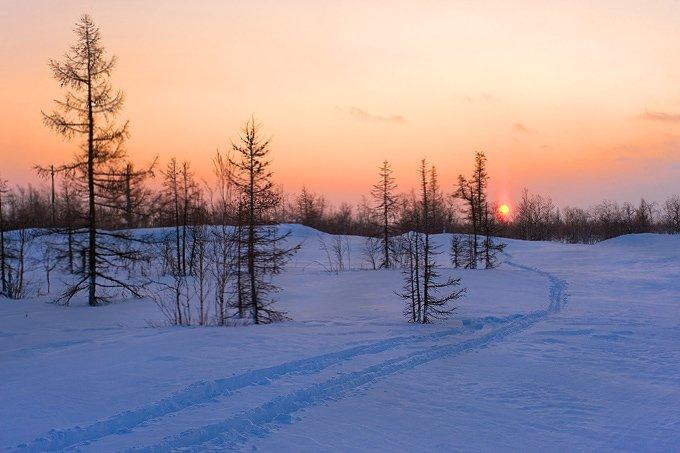закат, небо, лыжня, Igor Nelinov