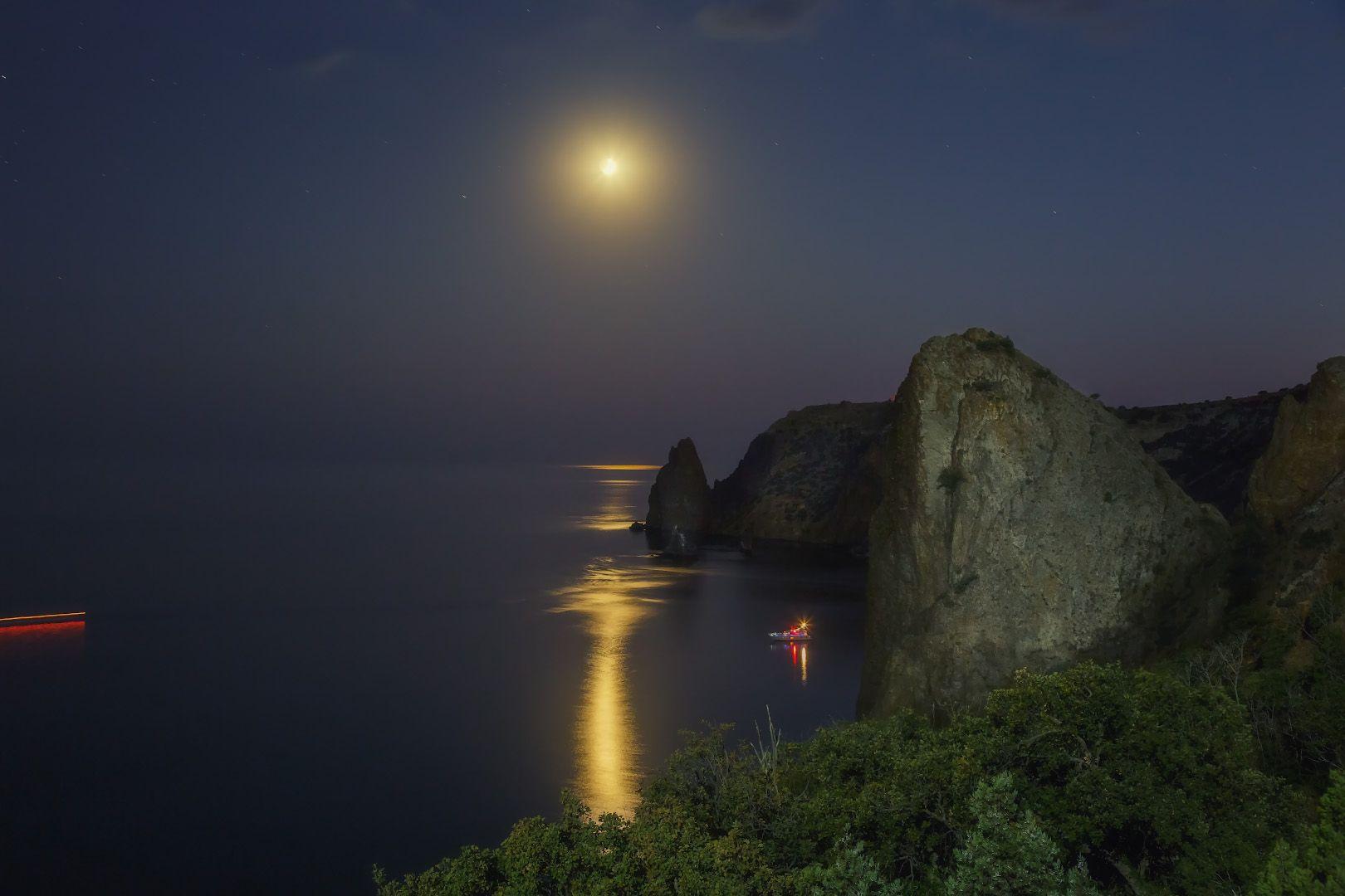 луна, вечер, море., Дубинин Владимир