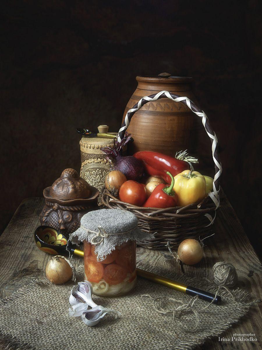 натюрморт, урожай, винтажный, осень, овощи, консервация, Приходько Ирина