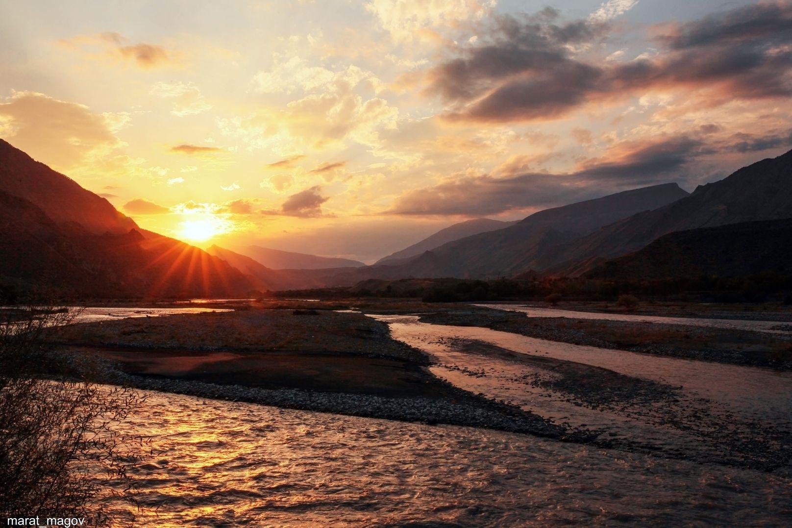 горы,река,вершины,пейзаж,небо,деревья,дагестан,природа, Magov Marat
