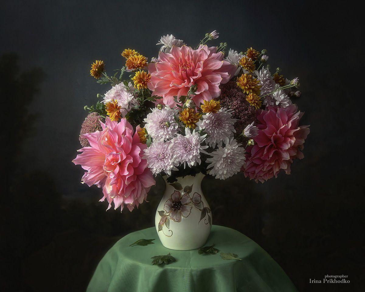 натюрморт, цветы, букеты, георгины, хризантемы, Приходько Ирина