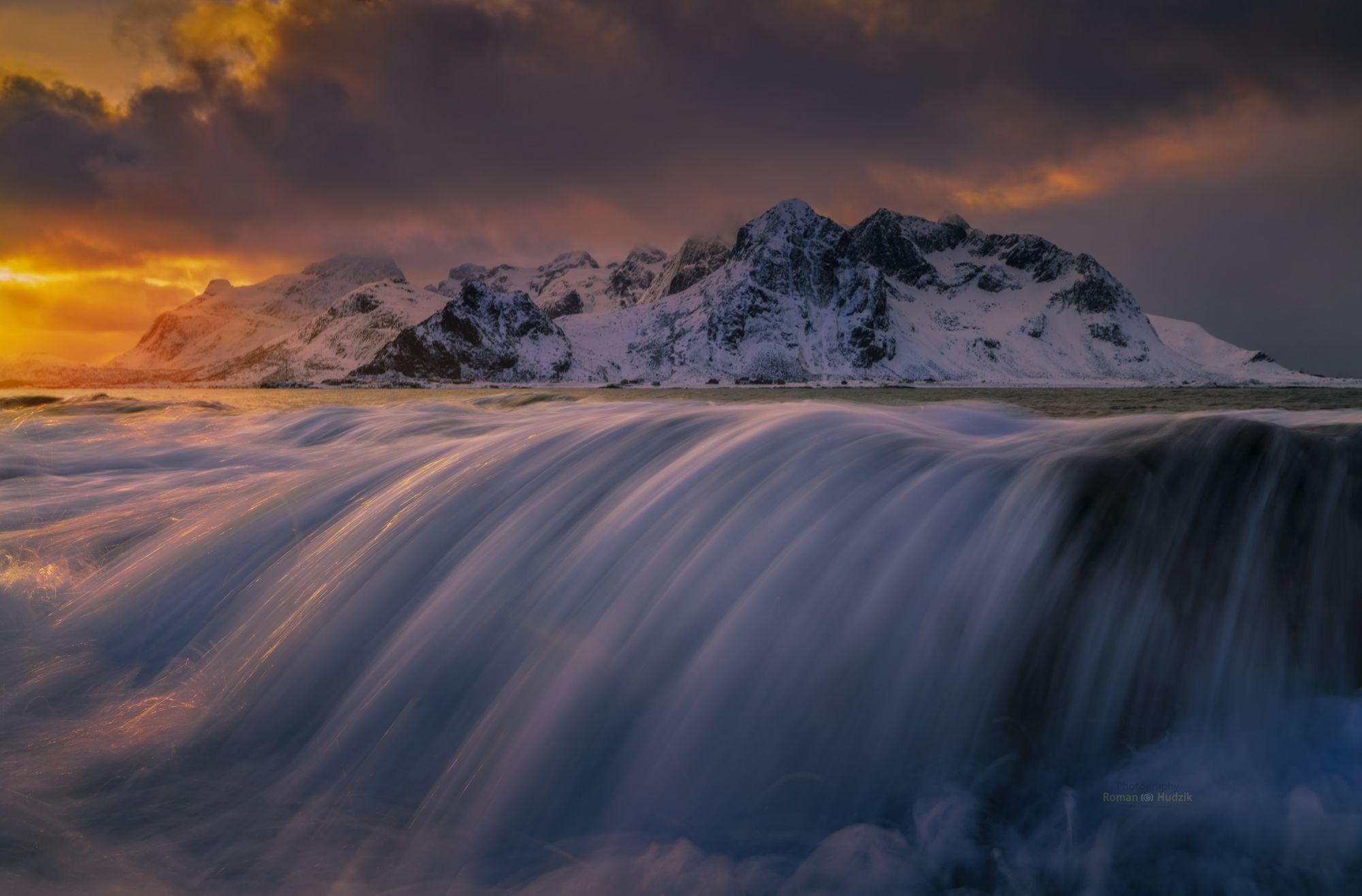 Landscape, Lofoten, sky, ocean, sea, sunset, wave,, Hudzik Roman