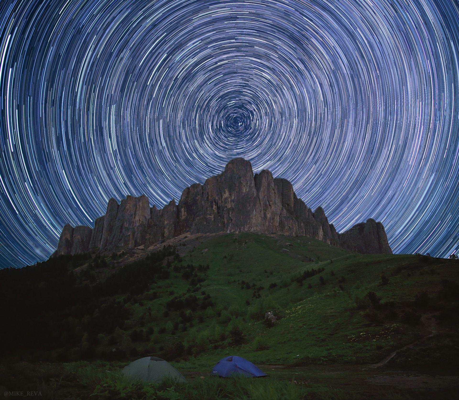 ночь большой тхач ночной пейзаж астрофотография звезды созвездия треки, Рева Михаил