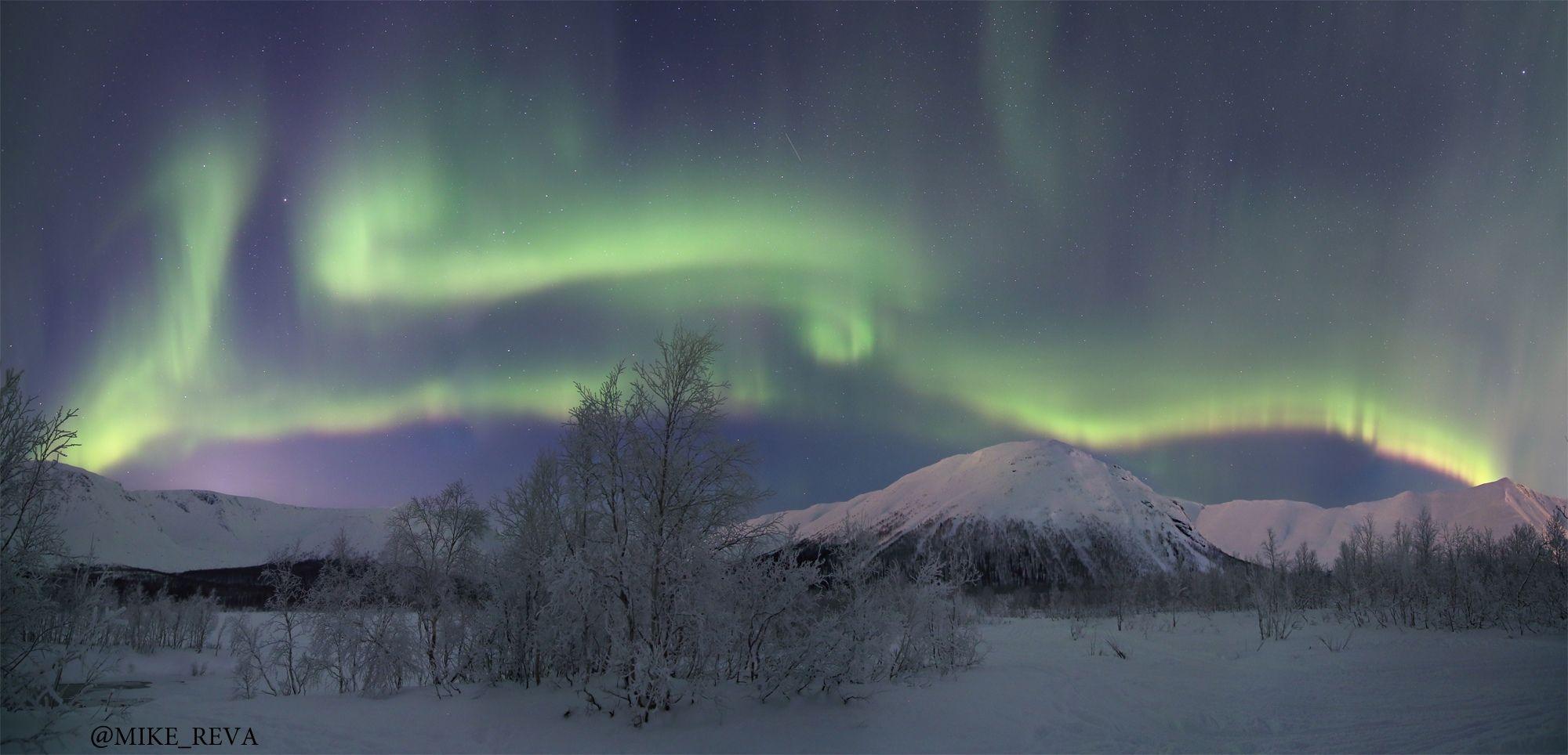 хибины звезды северное сияние ночной пейзаж астрофотография, Рева Михаил