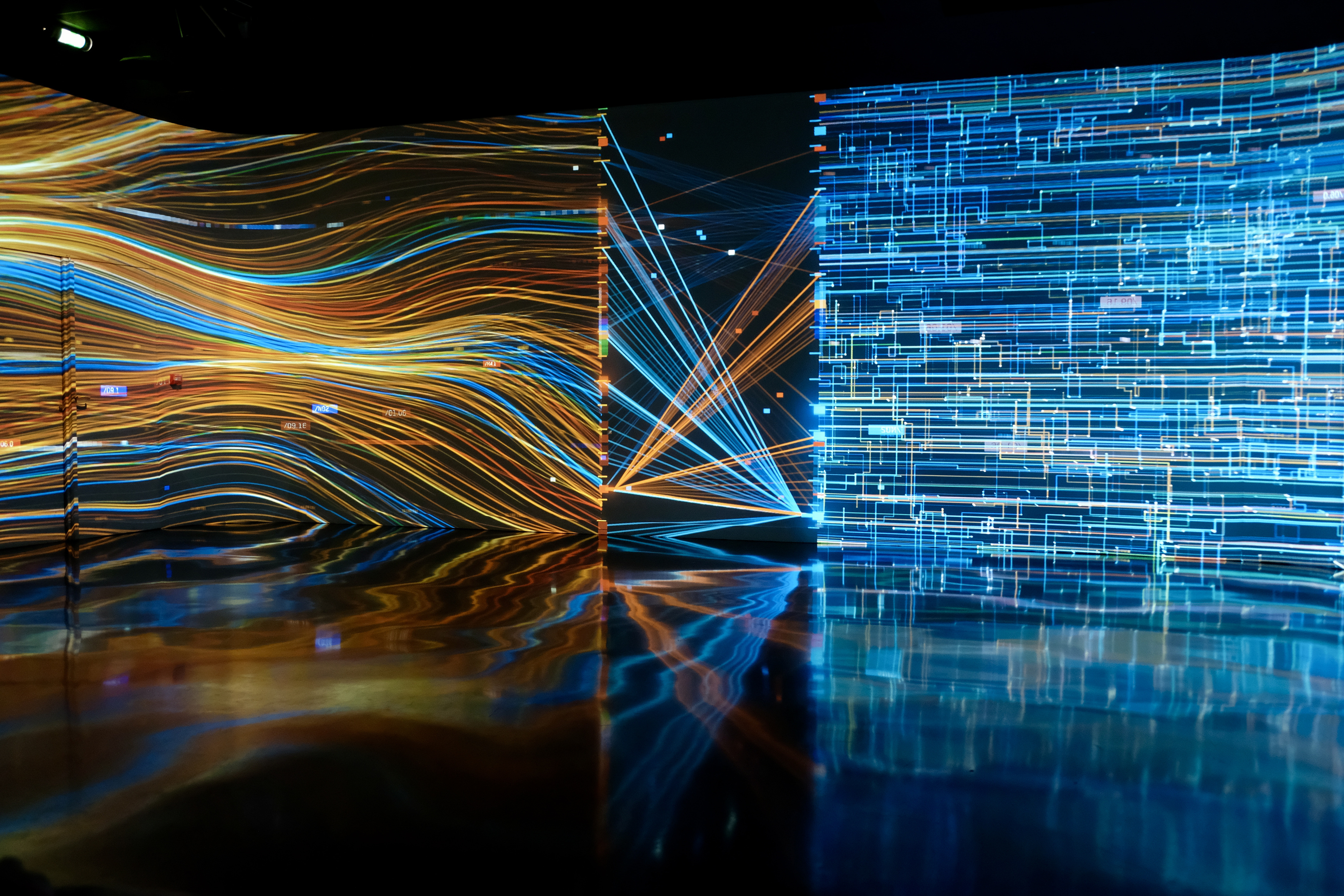 Abstraction, light, colors, Paris, museum, reflection, France, lines, Atelier des Lumières, , Povarova Ree Svetlana