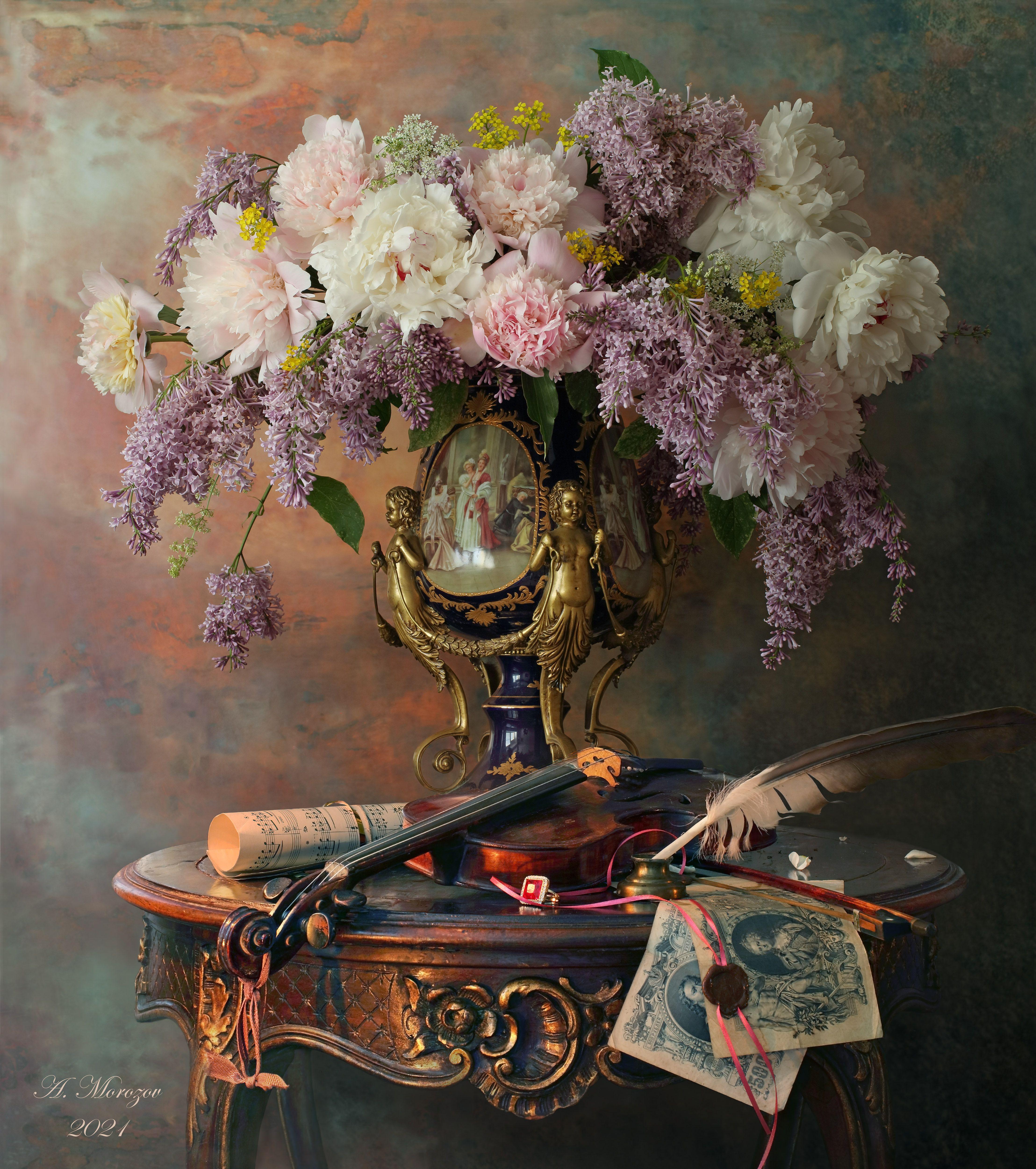 цветы, сирень, пионы, ваза, скрипка, музыка, перо, Морозов Андрей