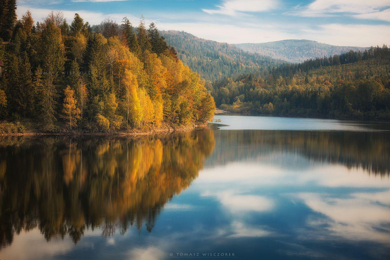 landscape, poland, light, autumn, awesome, amazing, sunrise, sunset, lovely, nature, travel, forest, trees, orange, shadows, reflection, lake, mountains, Tomasz Wieczorek