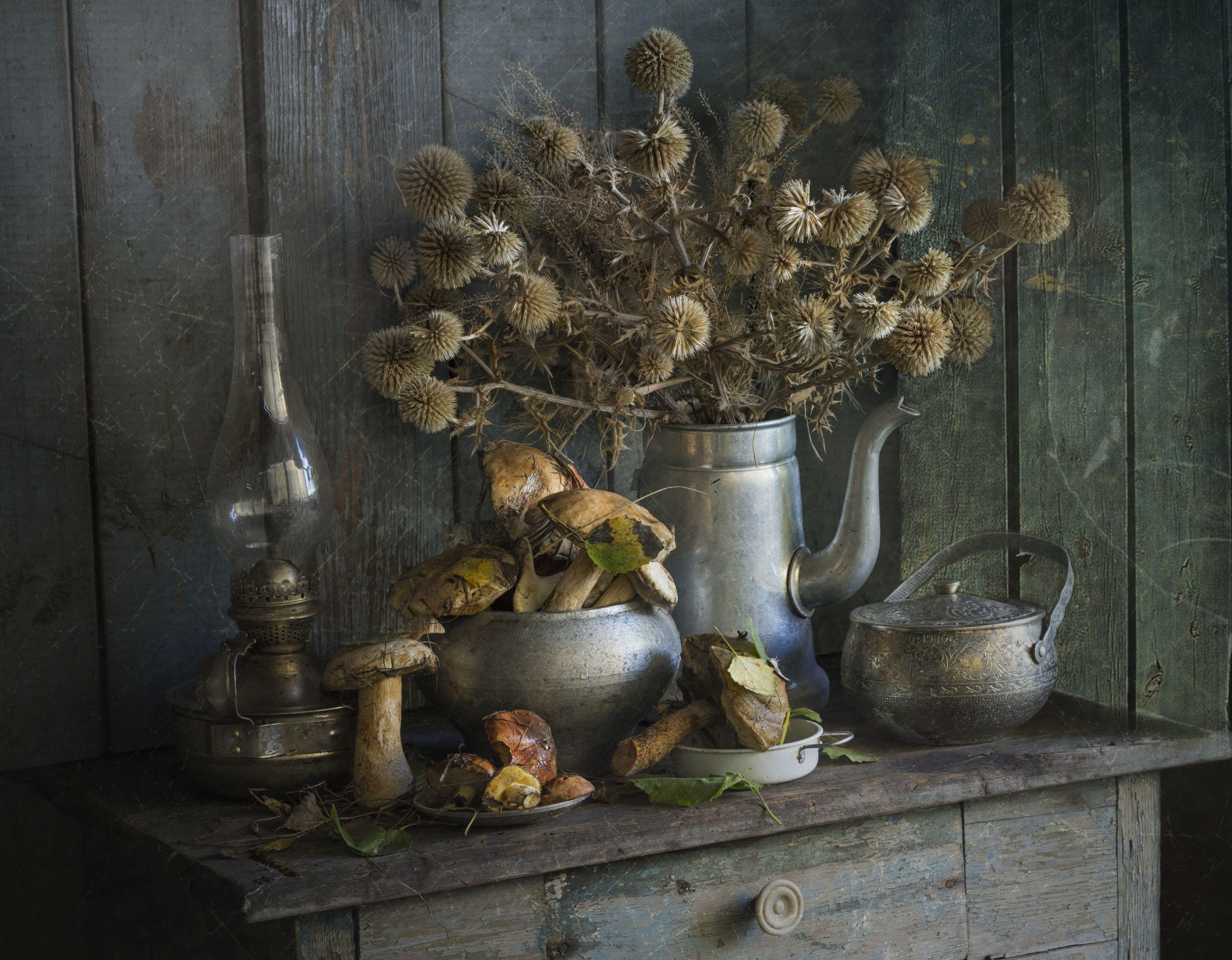 натюрморт, грибы, сухоцвет, Зимина Лионелла