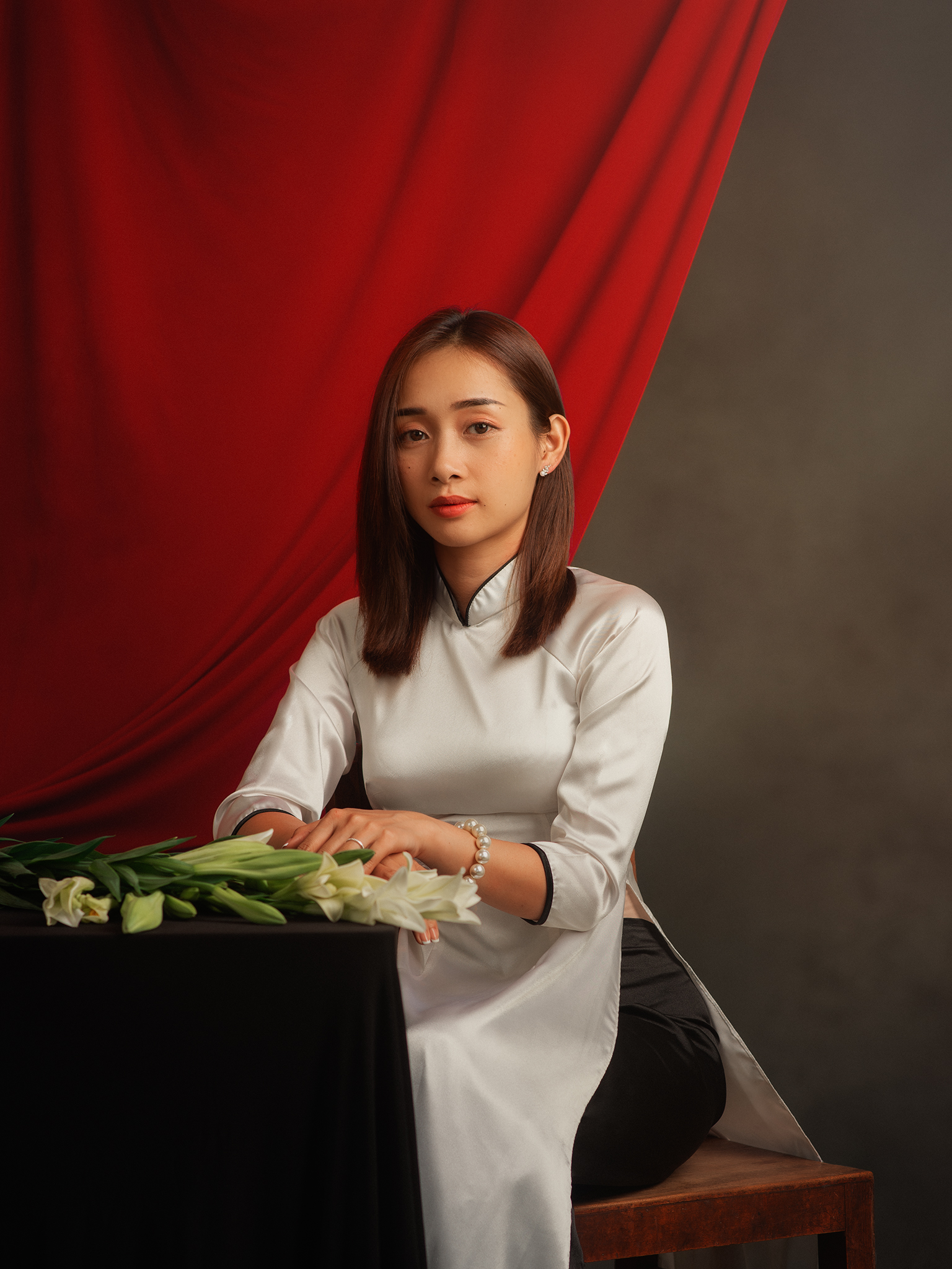 portrait, woman, female, beauty, face, vietnamese, asian, girl, studio, traditional dress, dress, staged, white, lilly, flower, Hoang Viet Nguyen