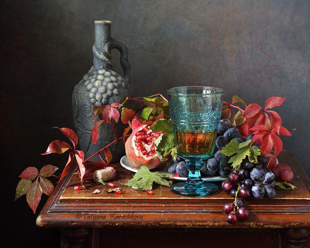 натюрморт, виноград, фужер фрукты, вино, Karachkova Tatyana