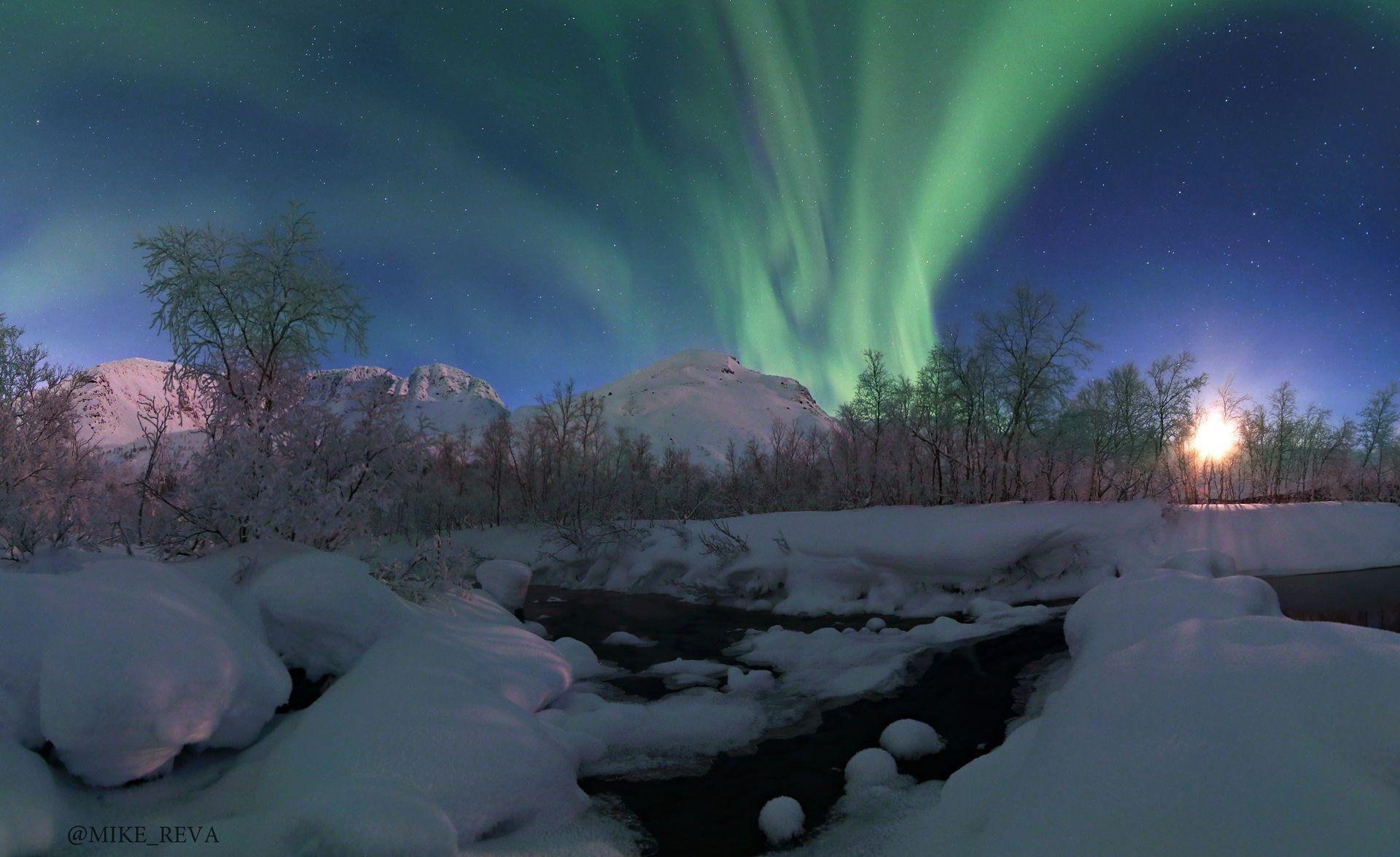 ночь ночной пейзаж астрофотография звезды созвездия хибины северное сияние, Рева Михаил