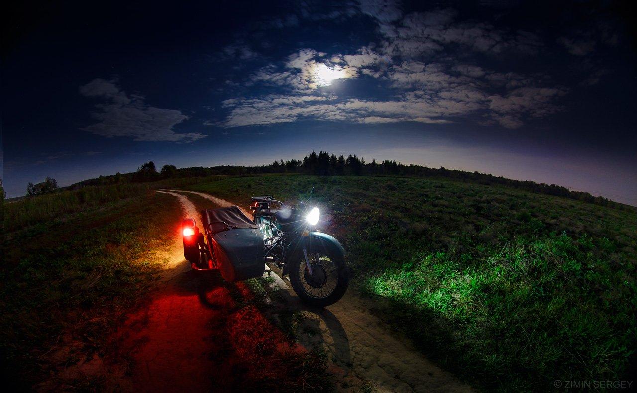 2014, Луна, Мотоцикл, Ночь, Осень, Сентябрь, Тула, Урал, Сергей Зимин