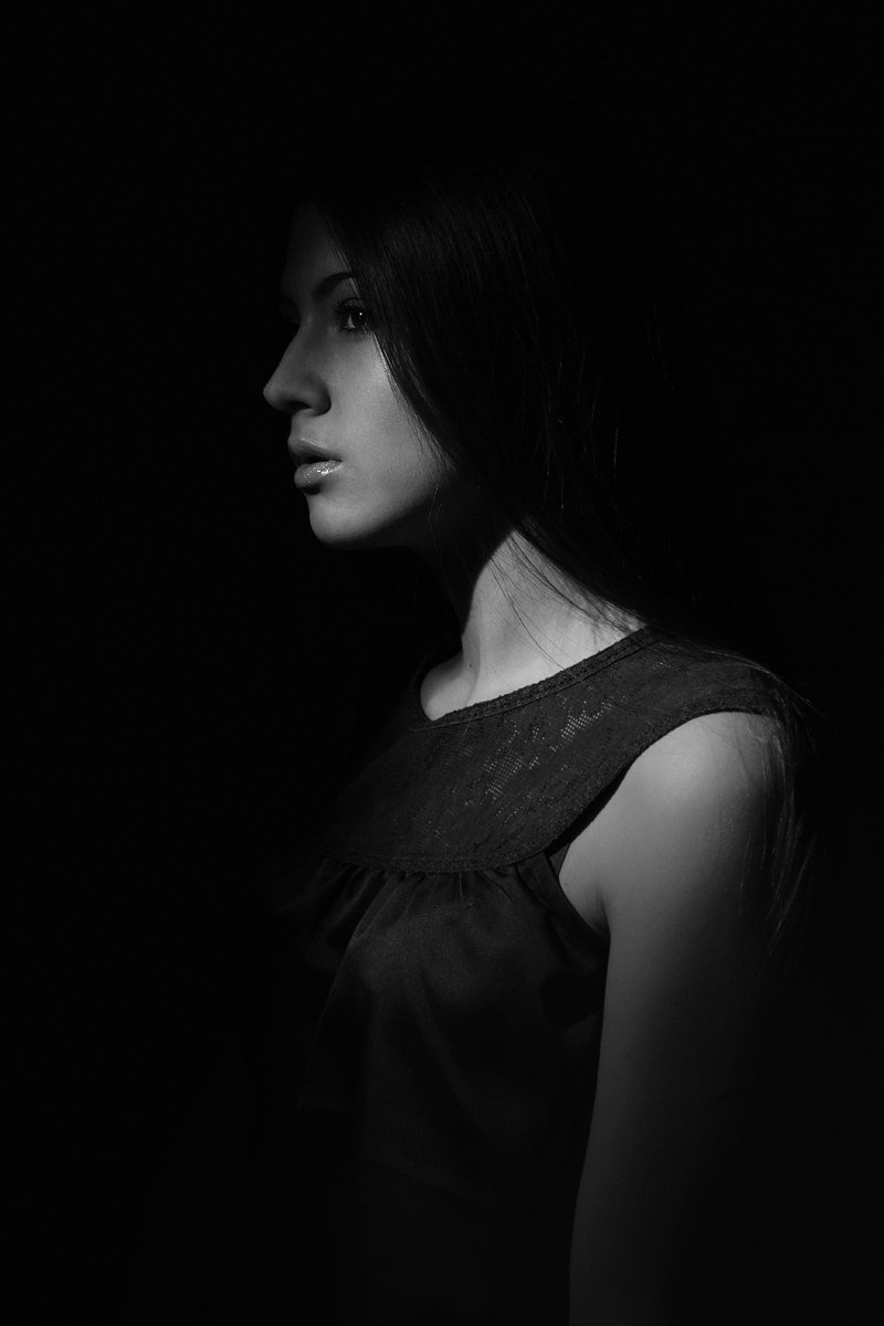 Dark, Girl, Portrait, Портрет, Портрет девушки, Черно-белое, Alex