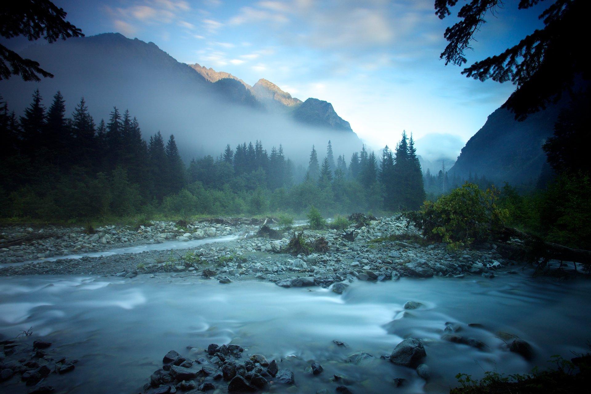 Долина, Закат, Река, Санчара, Северо-западный кавказ, Туман, Никифоров Егор