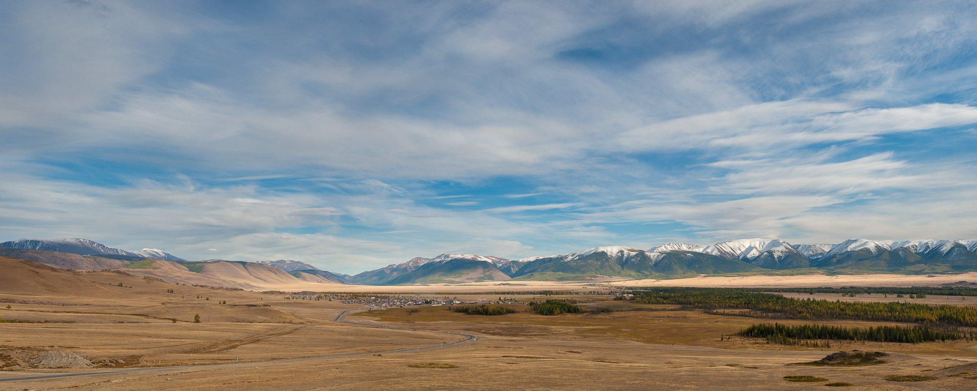 Горный алтай, Горы, Небо, Панорама, Северо-чуйский хребет, Степь, Кочергин Дмитрий