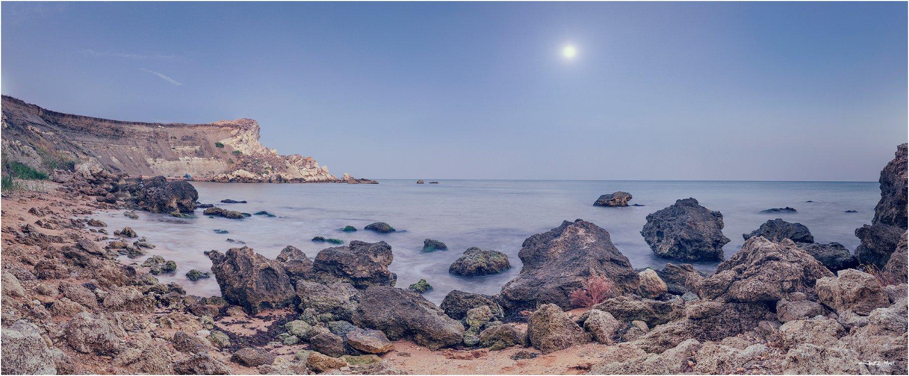 Закат, Камни, Крым, Луна, Панорама, Пляж, Черное море, Jazz Man